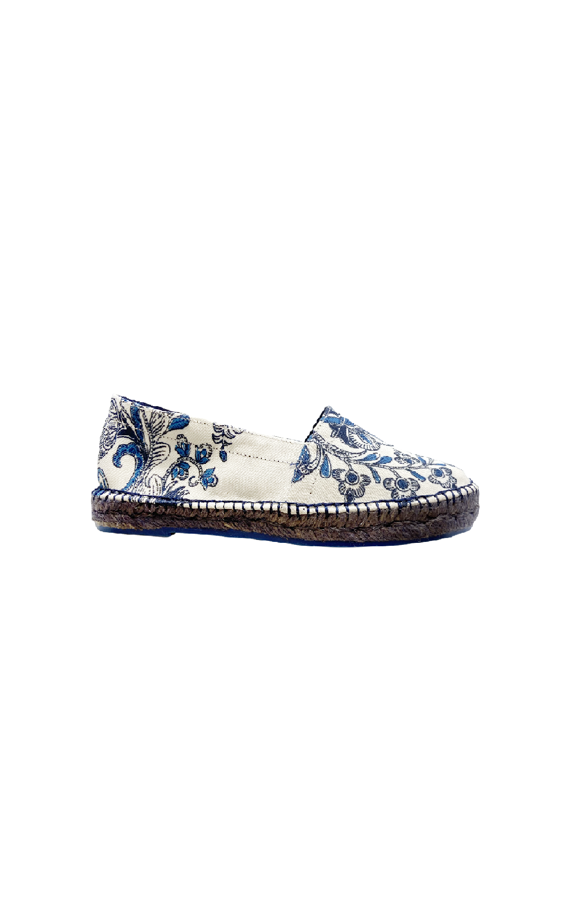 White espadrilles with blue flowers Naulover