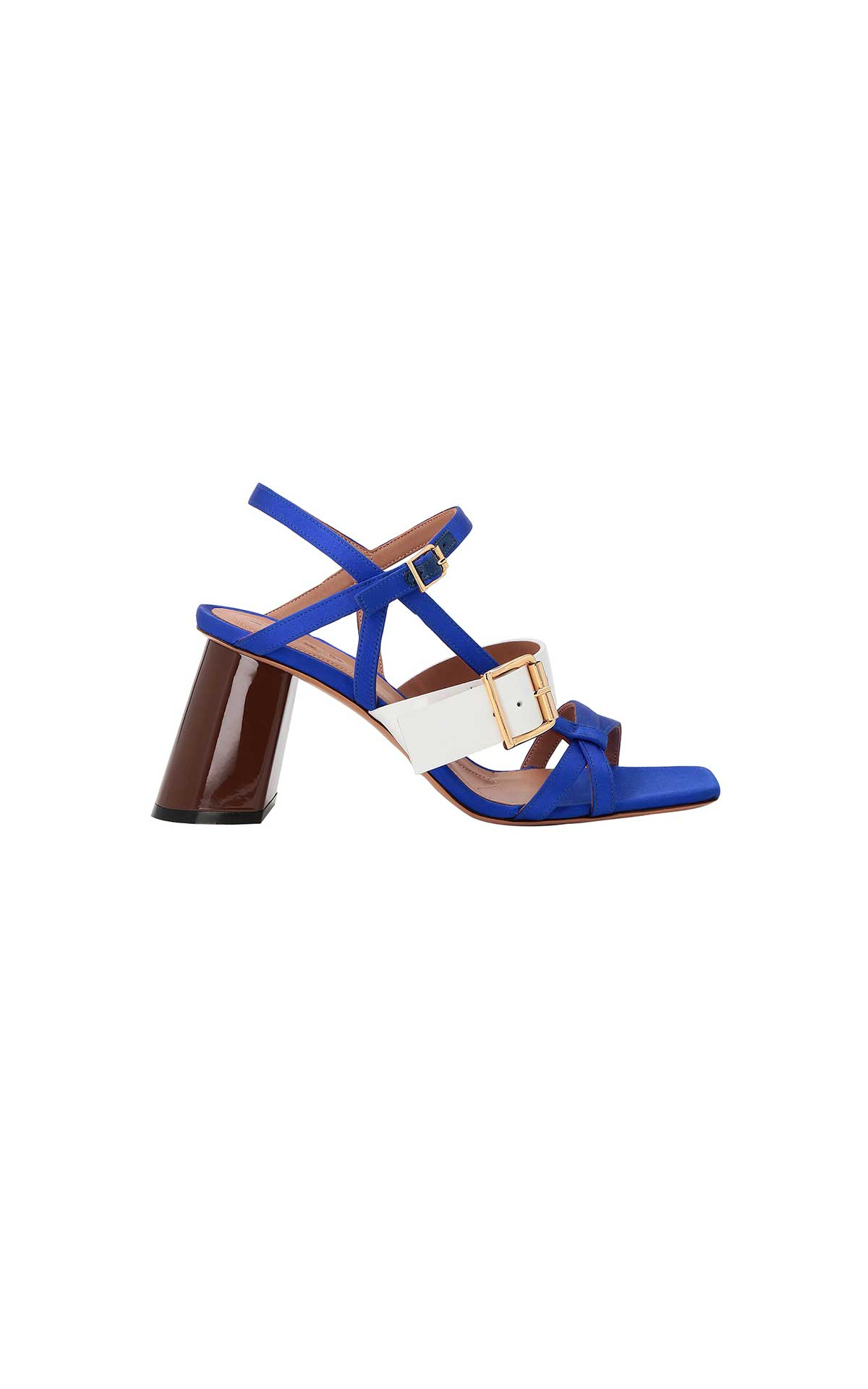 Blue and white heeled sandal for woman Marni