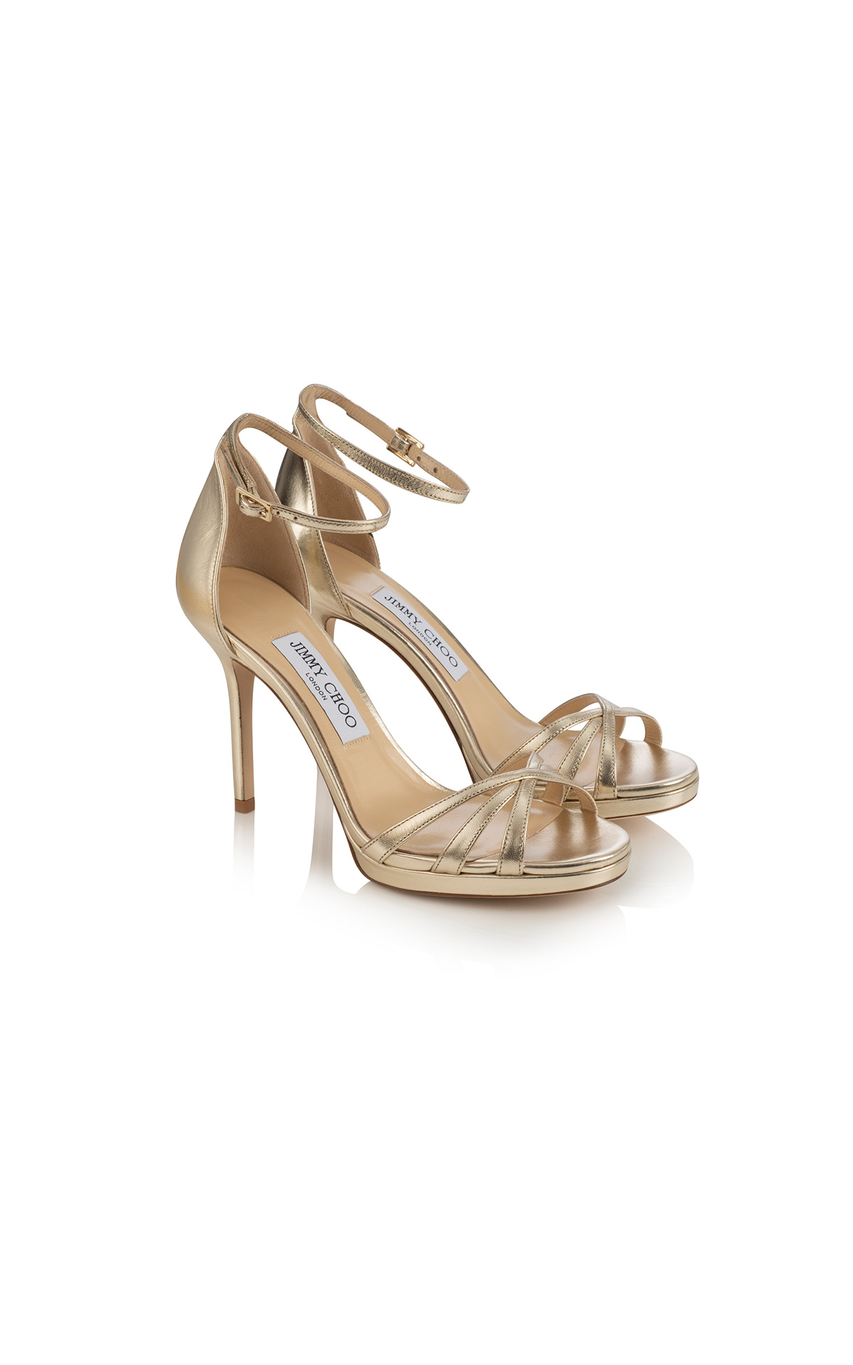 Jimmy Choo Dinda PF100 in metallic nappa champagne at The Bicester Village Shopping Collection