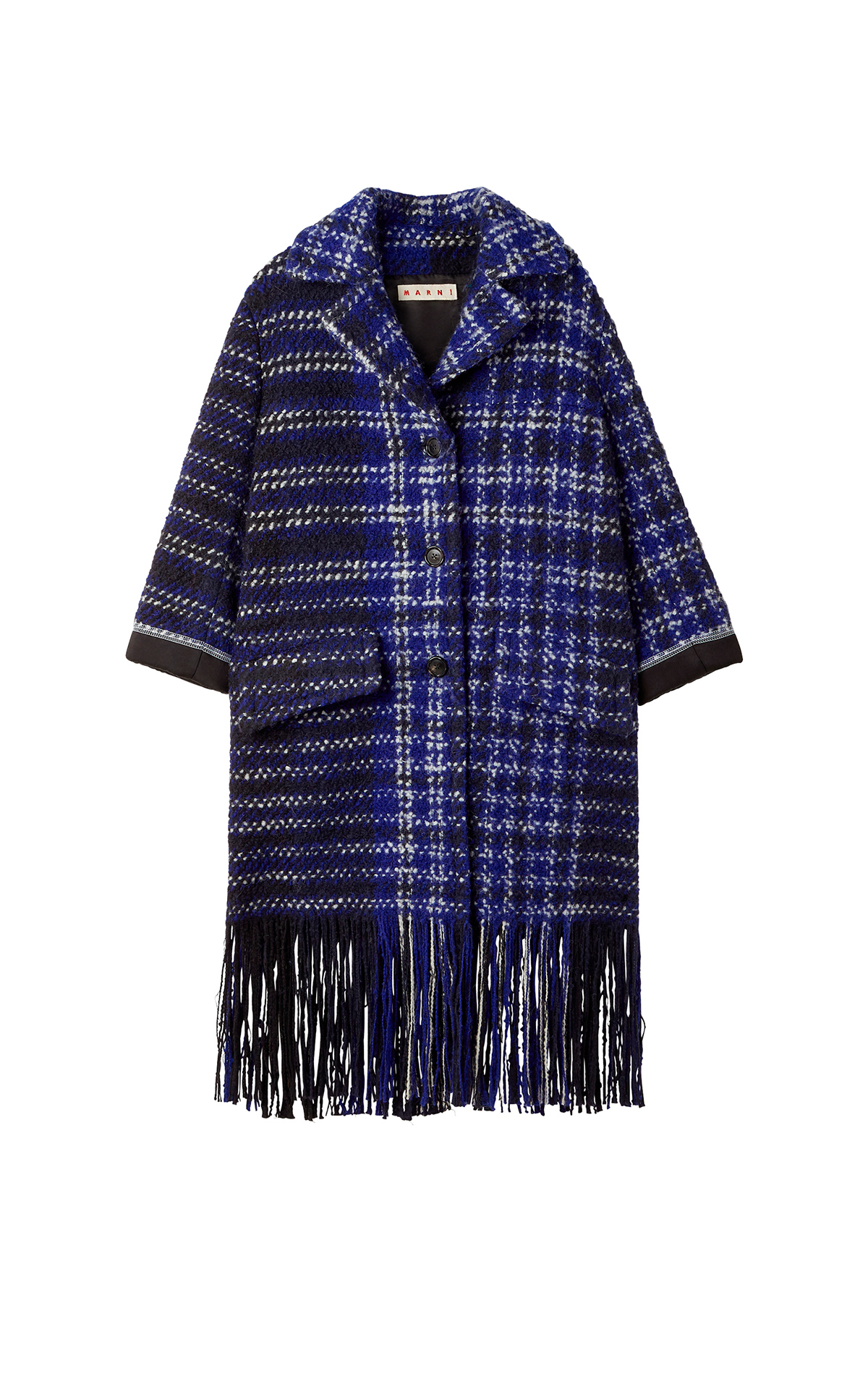 Checked blue coat with fringes Marni