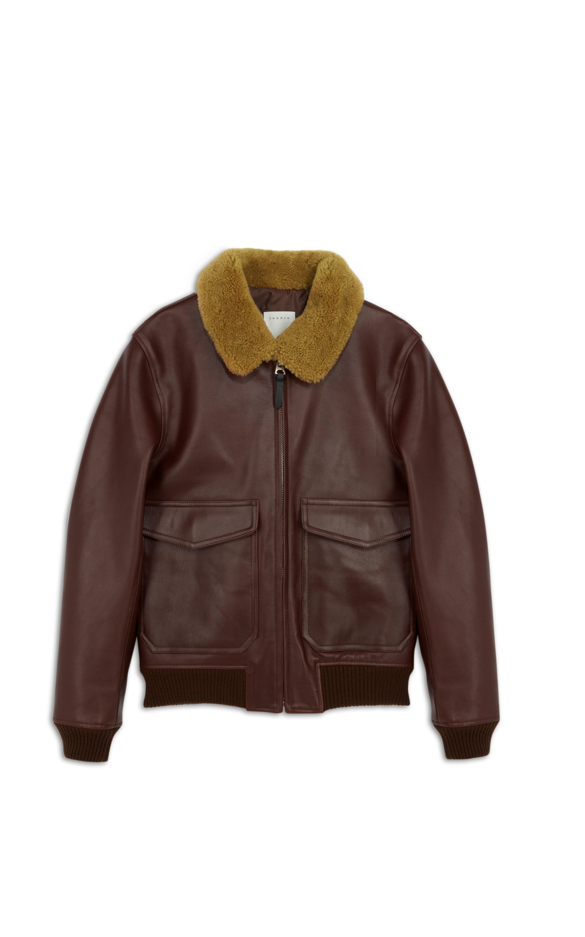 Sandro burgundy leather jacket with collar la vallée village