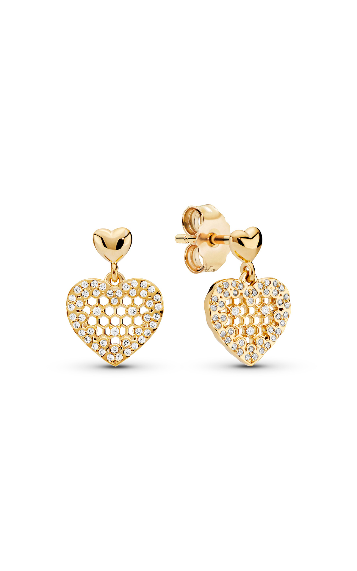 Golden heart earrings Pandora