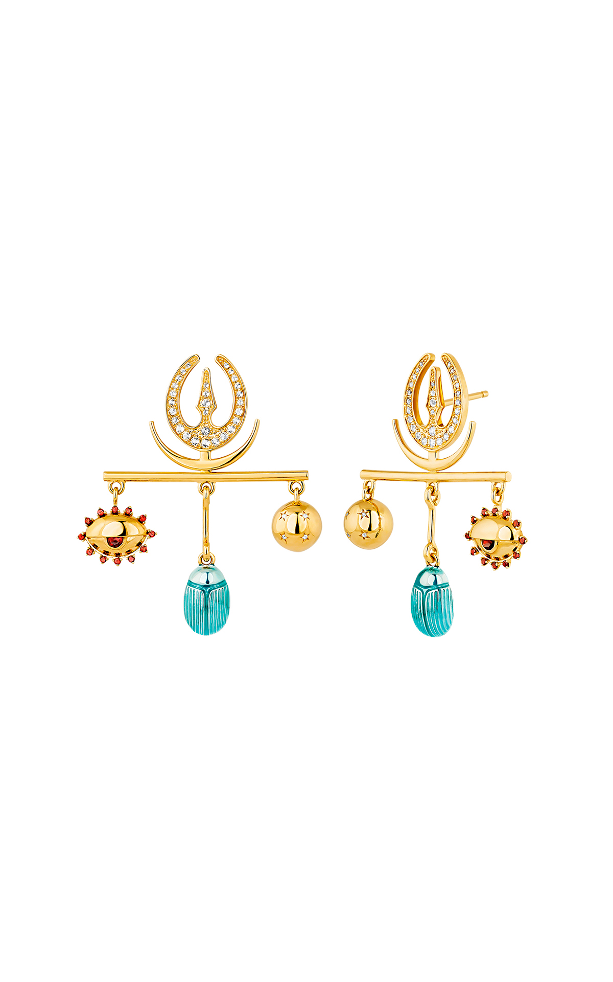 Golden earrings with blue stone Aristocrazy