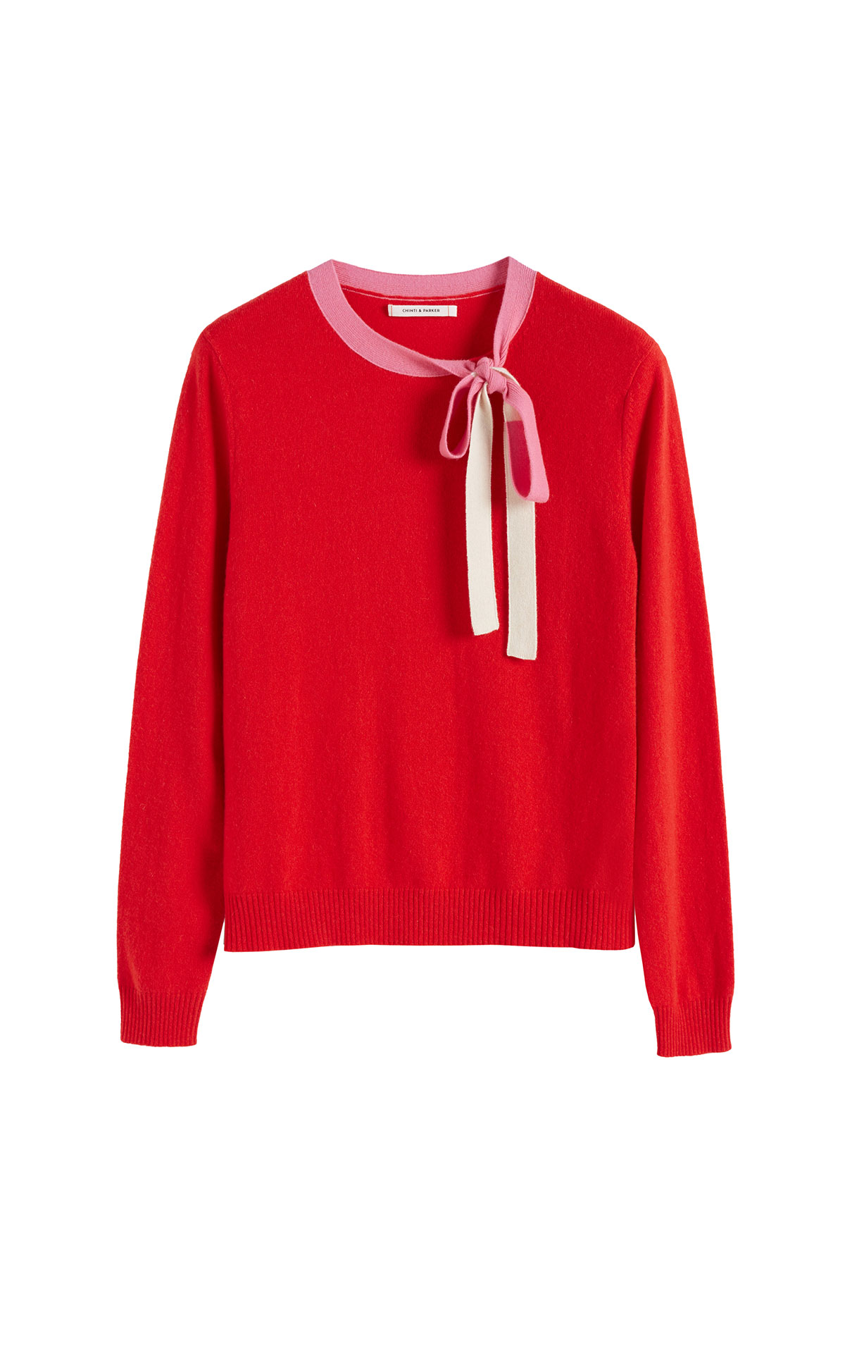 Chinti & Parker Red neck tie sweater from Bicester Village