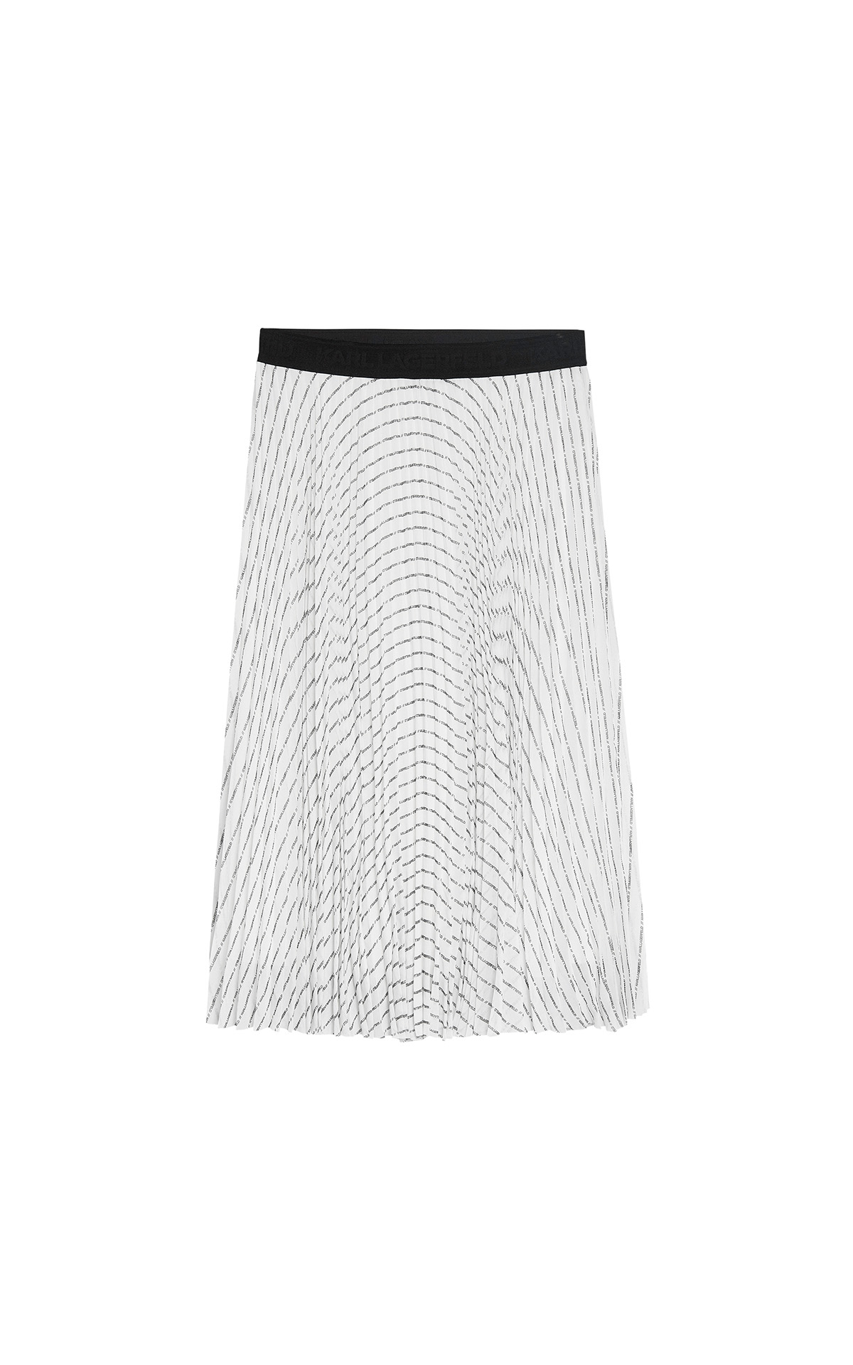 KARL black and white pleated logo midi skirt at KARL LAGERFELD