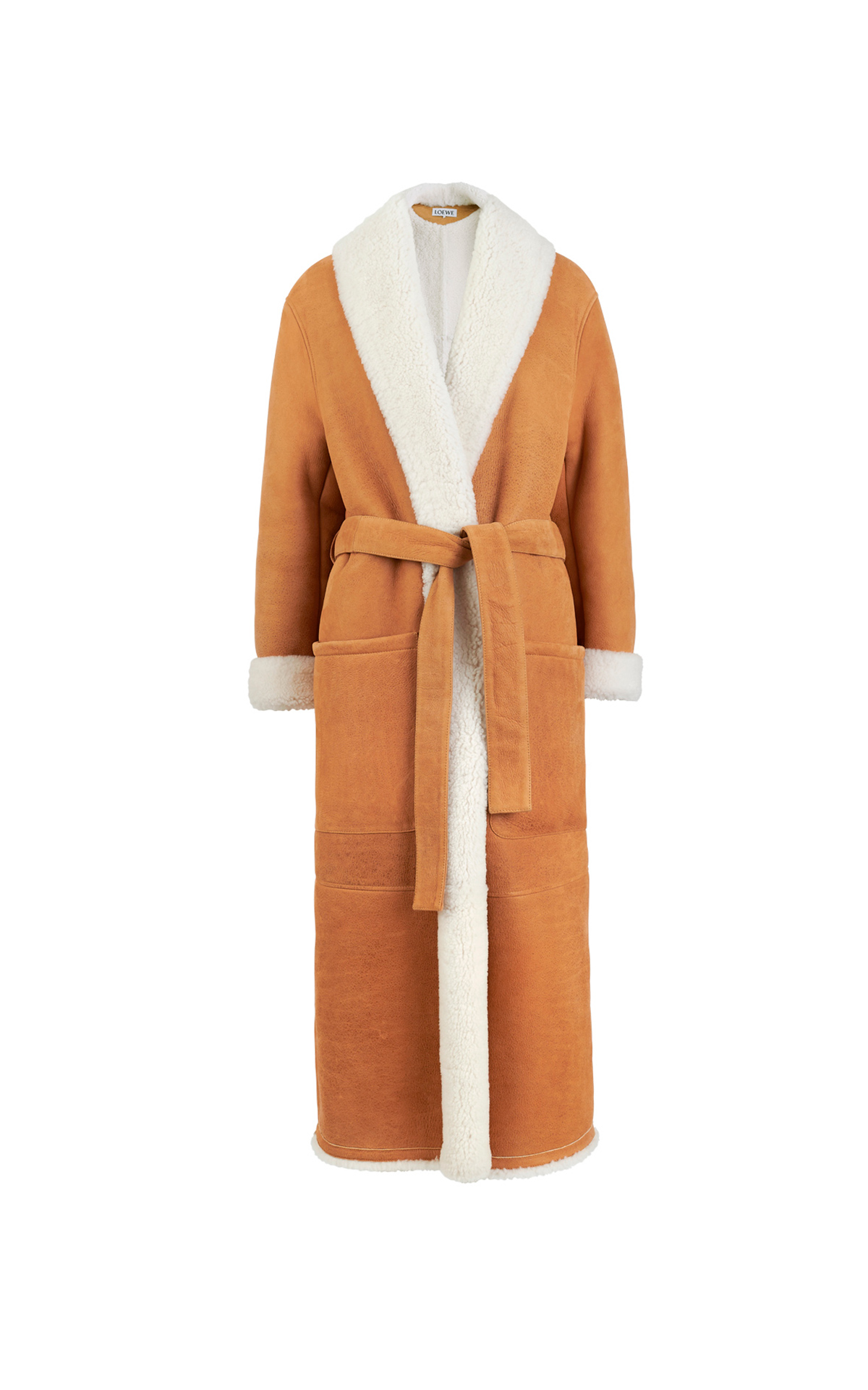 Long camel coat with shearling Loewe