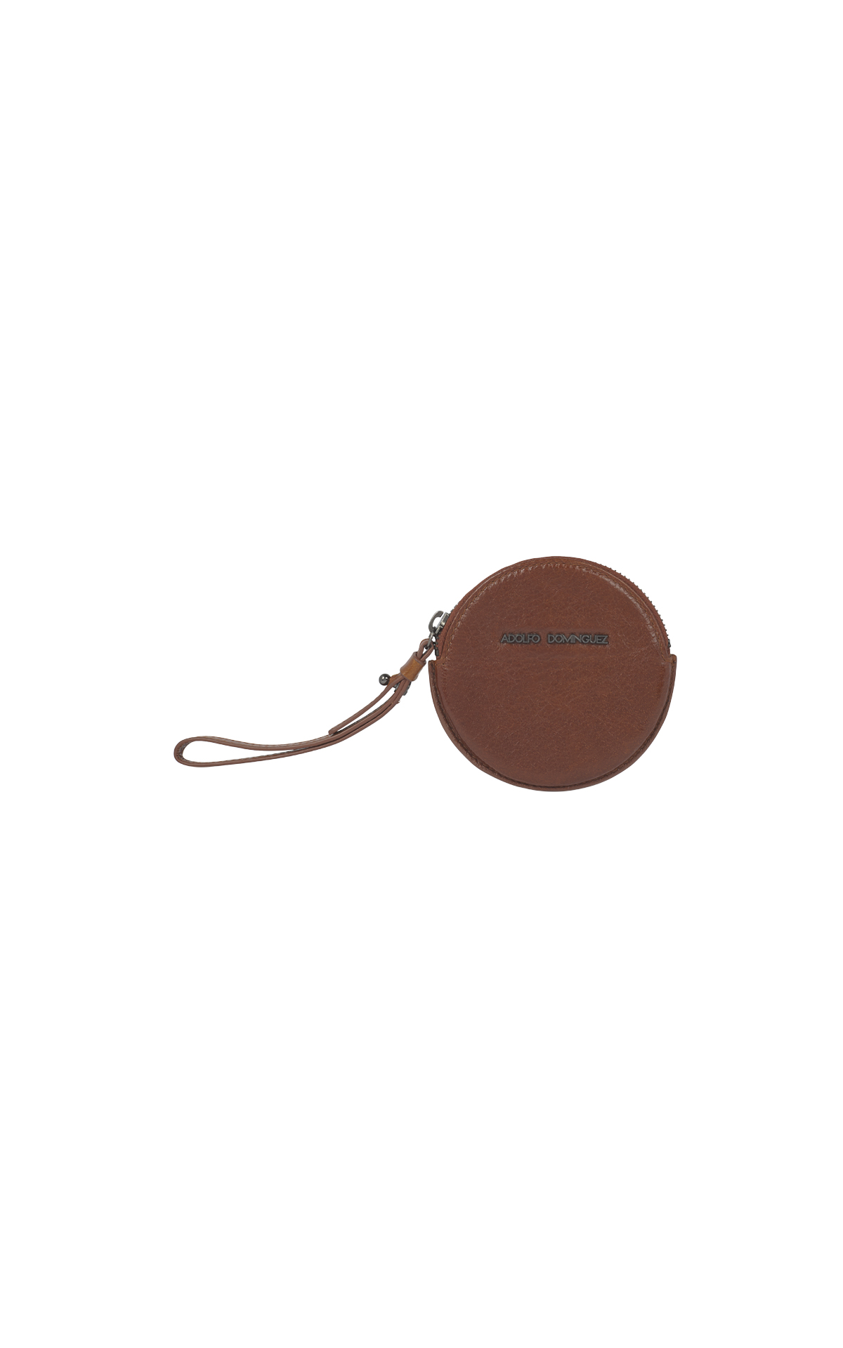 Round brown leather coin purse Adolfo Dominguez