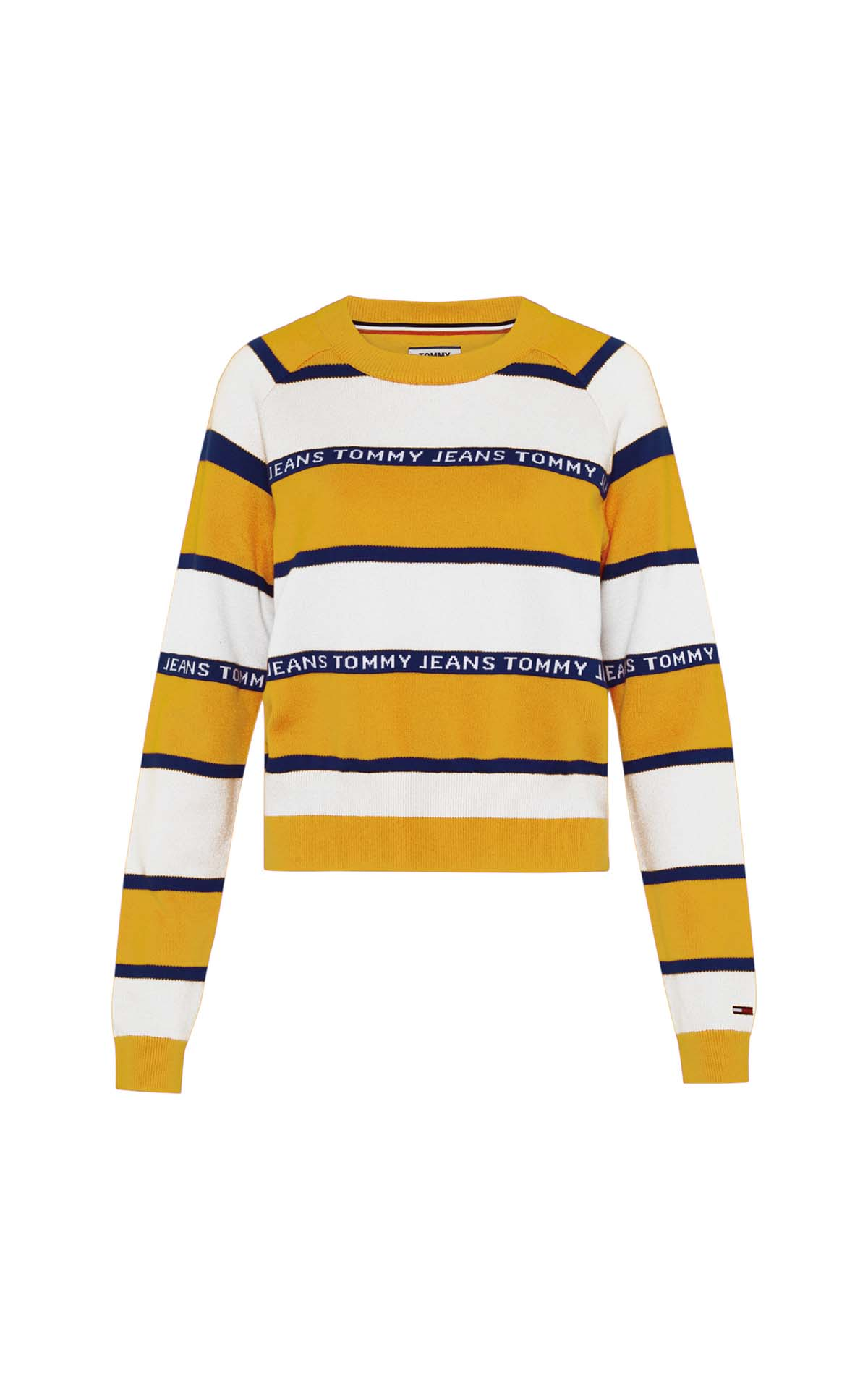 Yellow and white striped sweater for woman Tommy Hilfiger