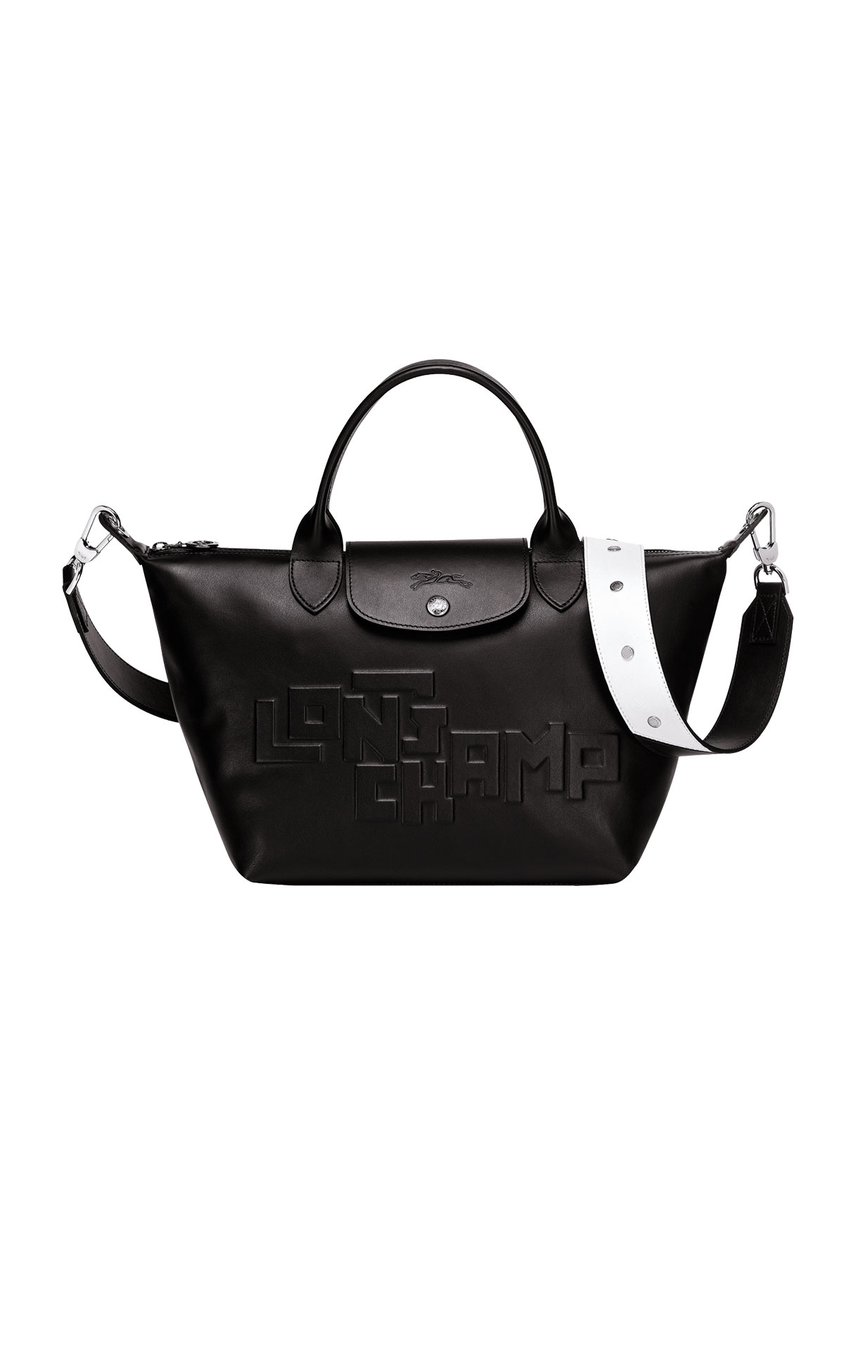 Black leather pliage bag with logo Longchamp