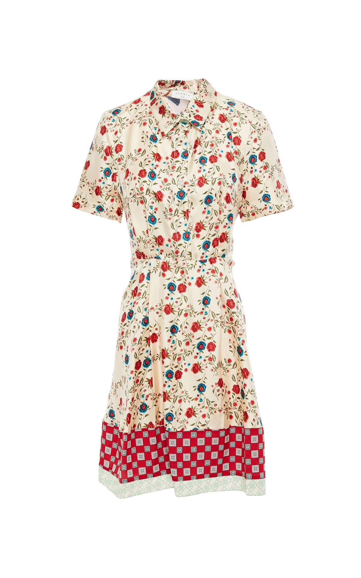 Beige silk dress with red flowers Sandro