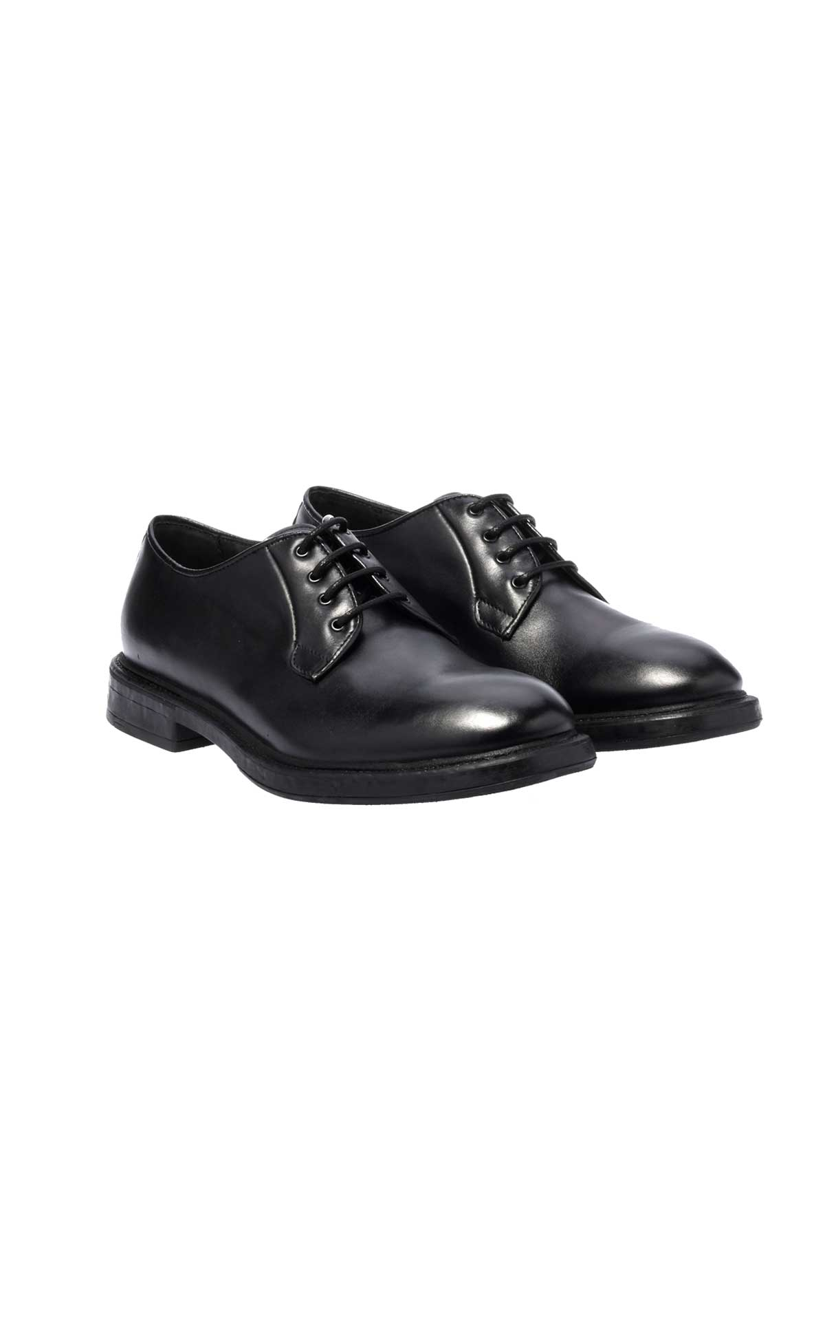 Black leather shoe man Baldinini