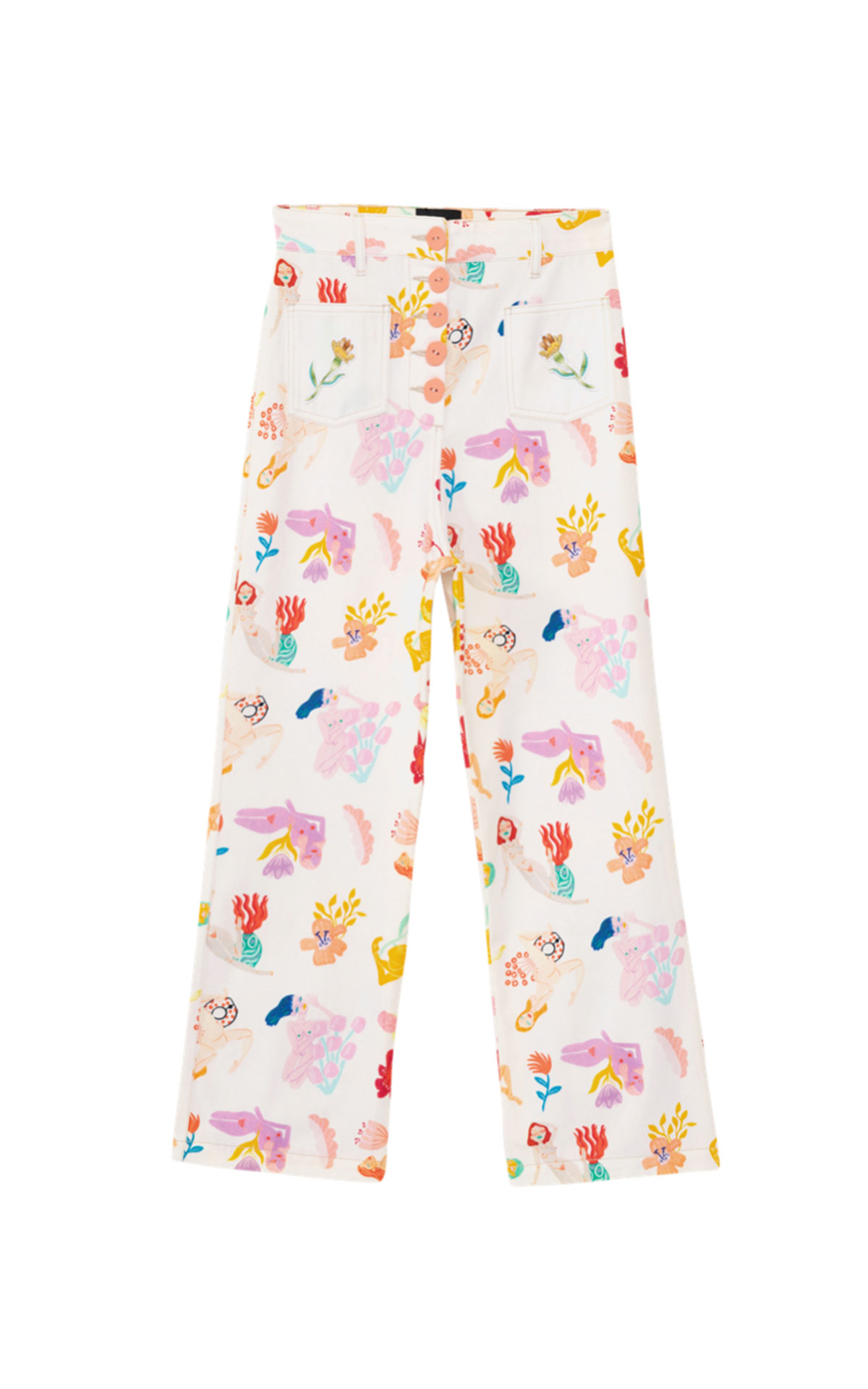 Printed white trousers Desigual