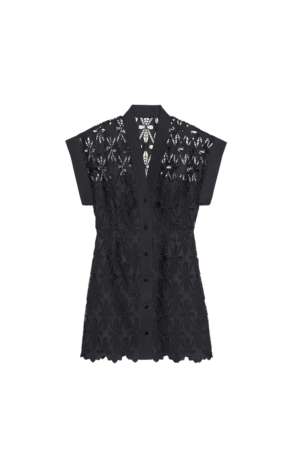 Sandro Short guipure V-neck dress with buttons along entire length. Short sleeves enhanced with a black topstitched cotton panel at The Bicester Village Shopping Collection