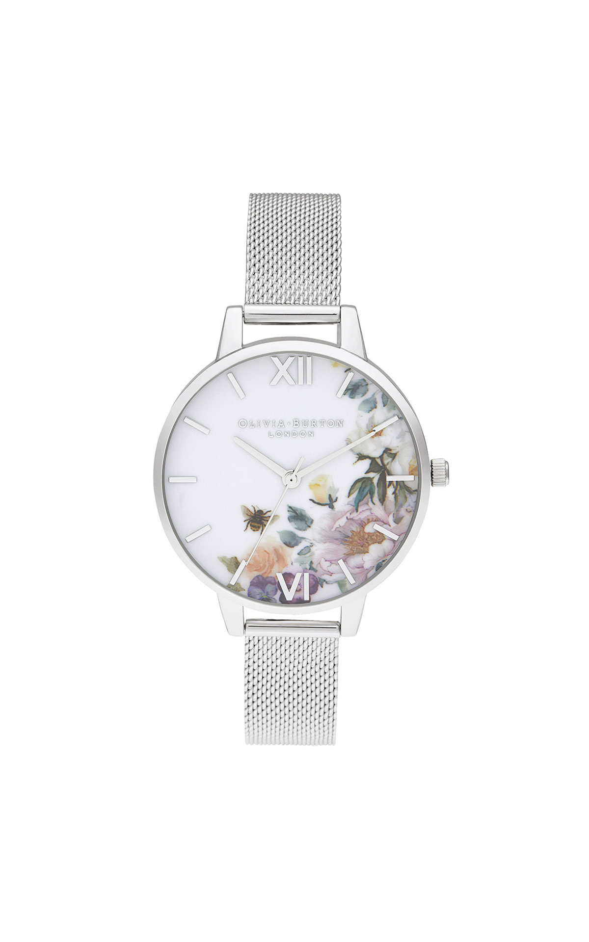 Olivia Burton Enchanted garden demi silver mesh watch from Bicester Village