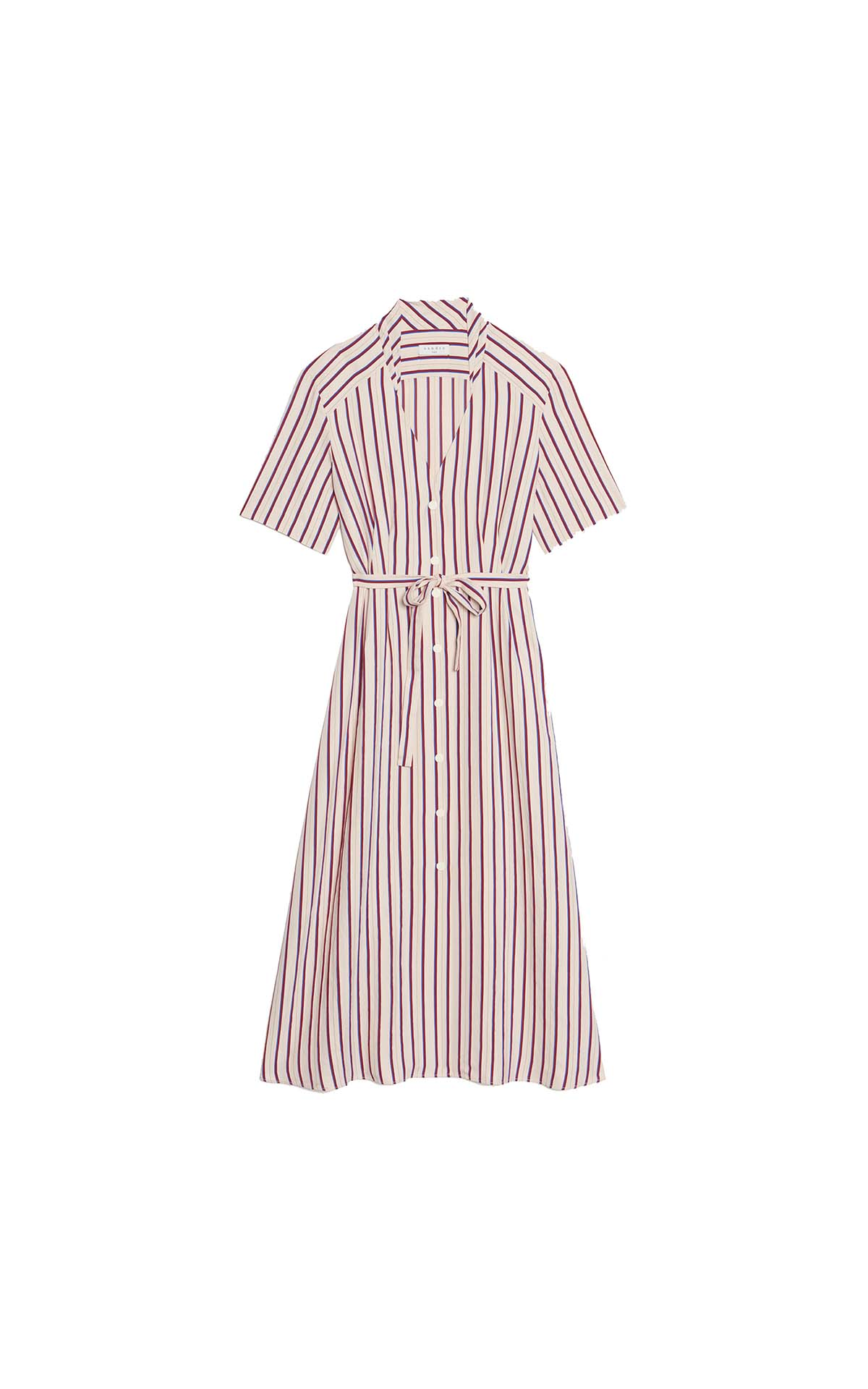 Long pinstriped shirt dress with short sleeves for woman Sandro