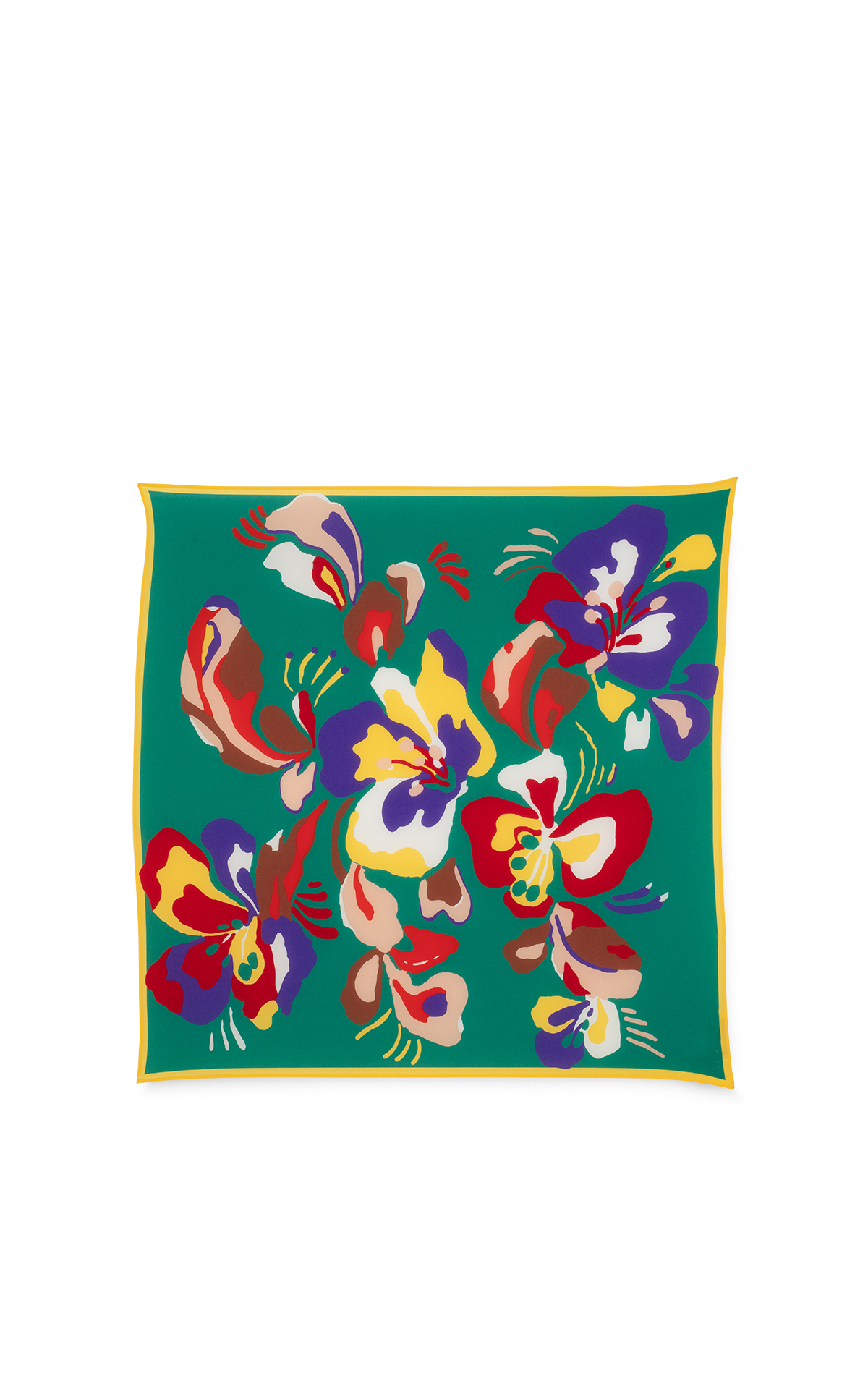 Eric Bompard Mini silk square with coloured flowers*