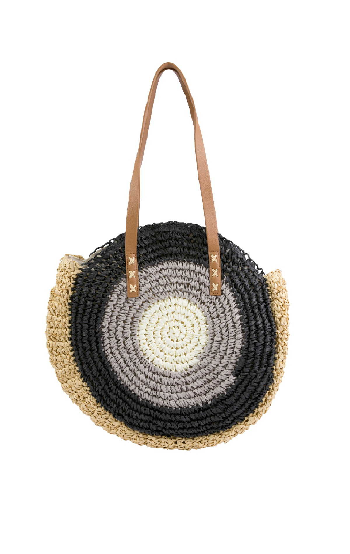 Rounded raffia grey bag for woman Textura