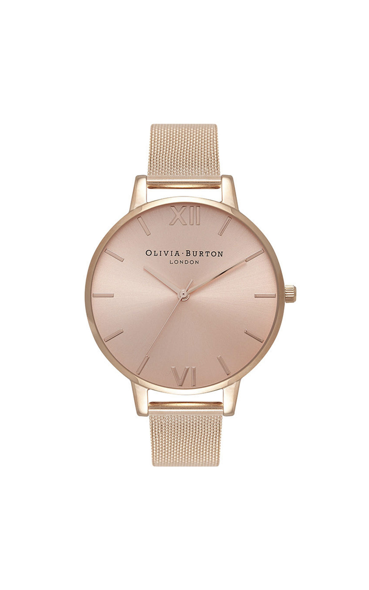 Olivia Burton Sunray rose gold mesh watch from Bicester Village