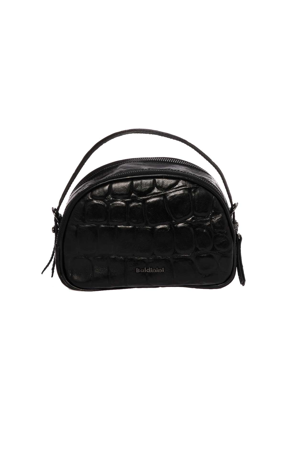Small black leather bag croco Baldinini