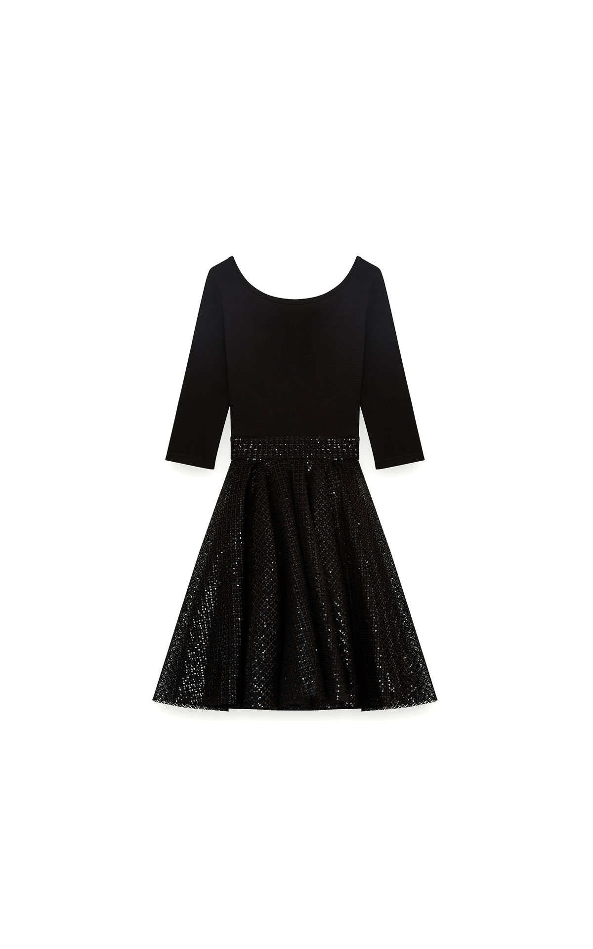 Maje Jersey and strass skater dress in black at The Bicester Village Shopping Collection