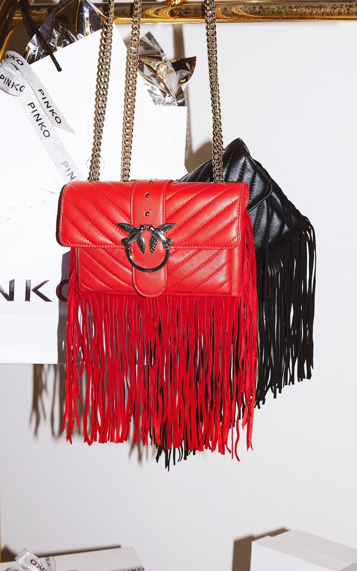 Red and black bags from Pinko's LOVE collection