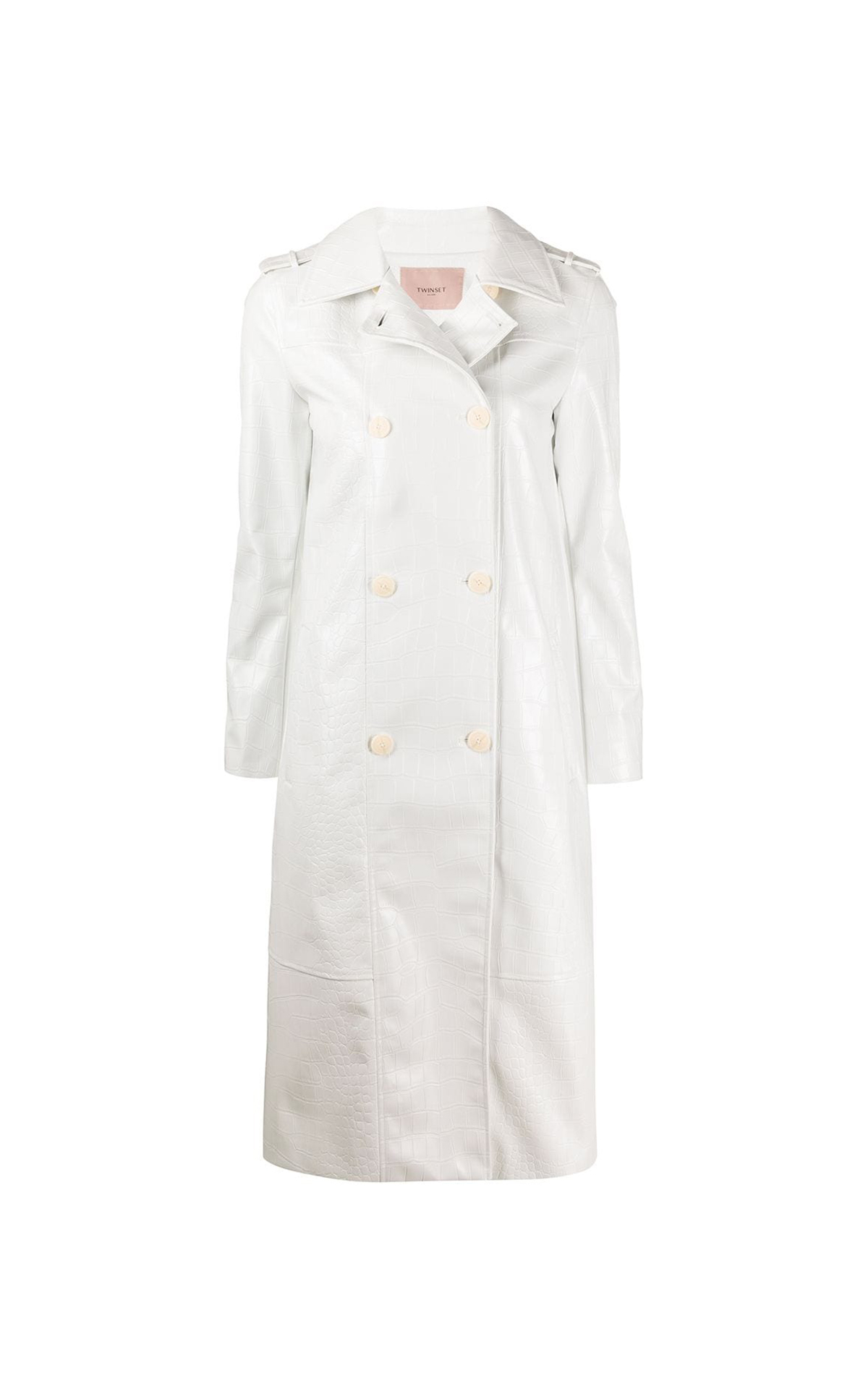 White croc effect trench coat TWINSET