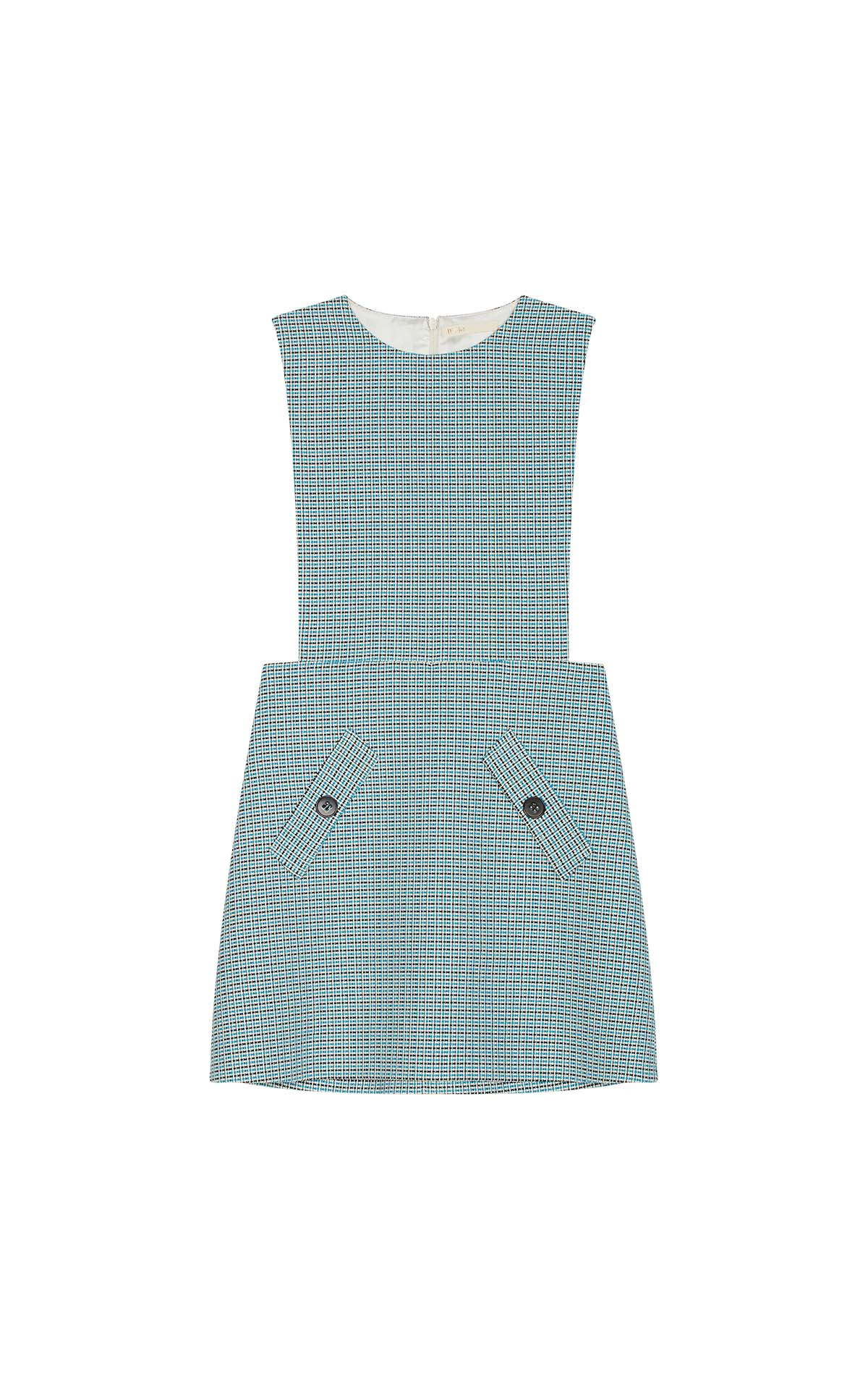 Short tweed checked blue and white dress for woman Maje