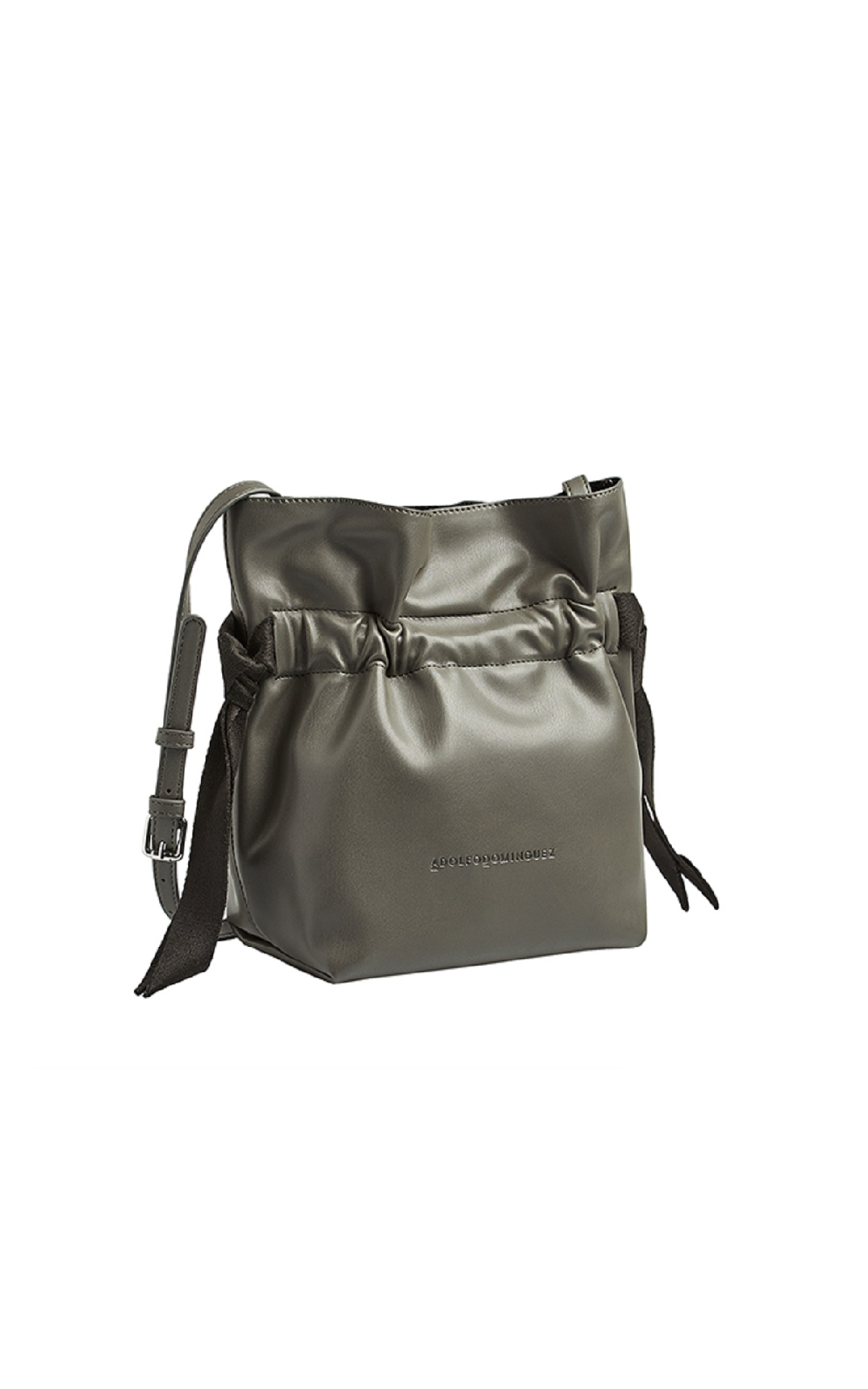 Khaki leather bucket bag Adolfo Dominguez