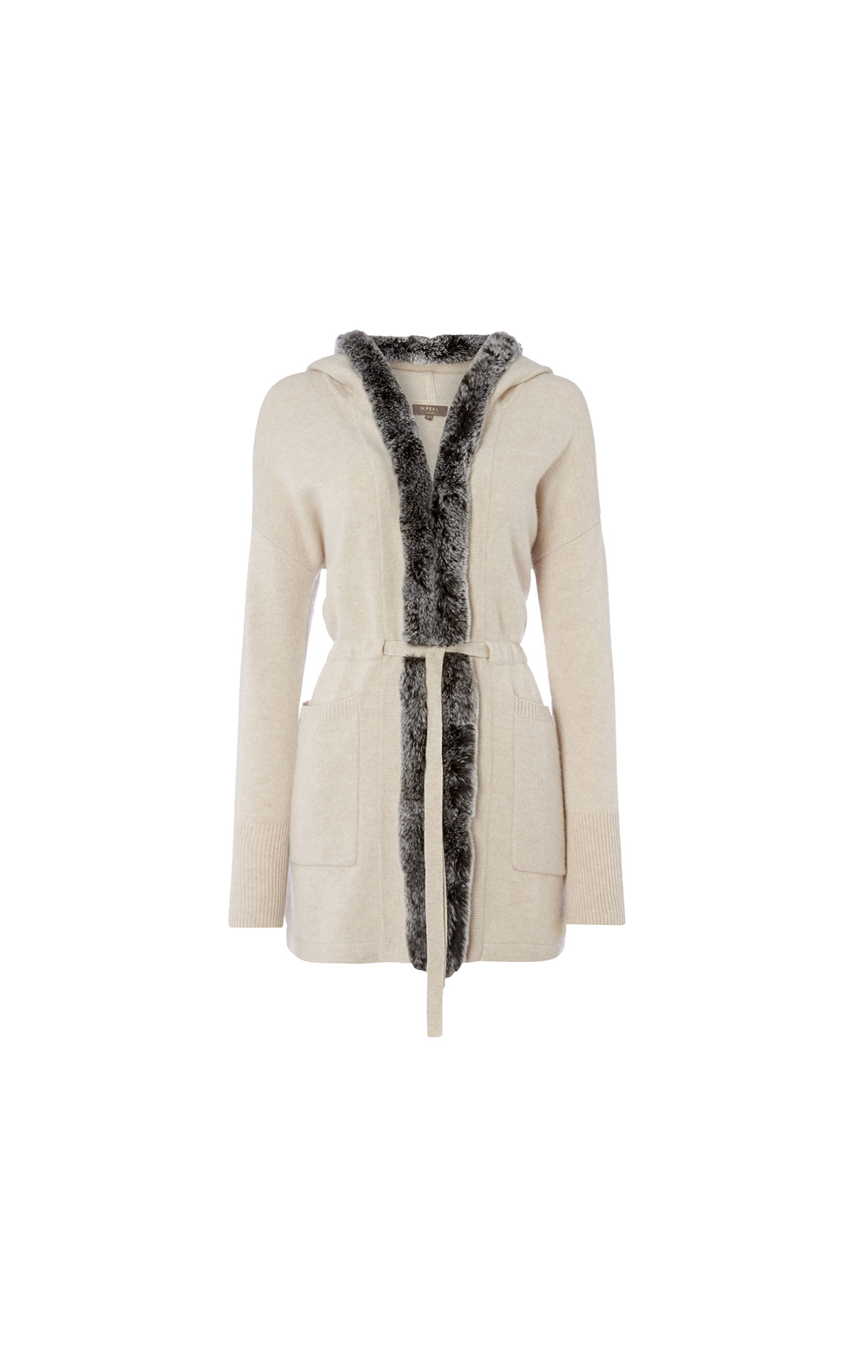 N.Peal Fur Trim Hooded Cardigan from Bicester Village