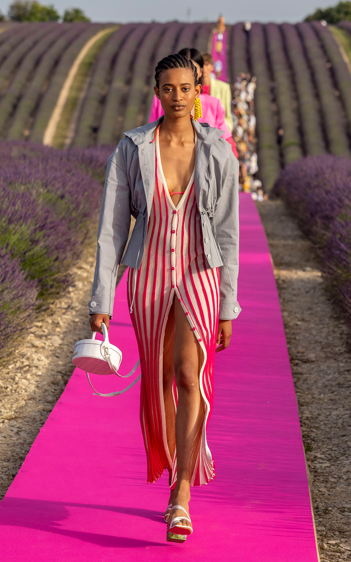 Model walks the runway during the Jacquemus Menswear Spring Summer 2020, 24 June 2019 in Valensole, France