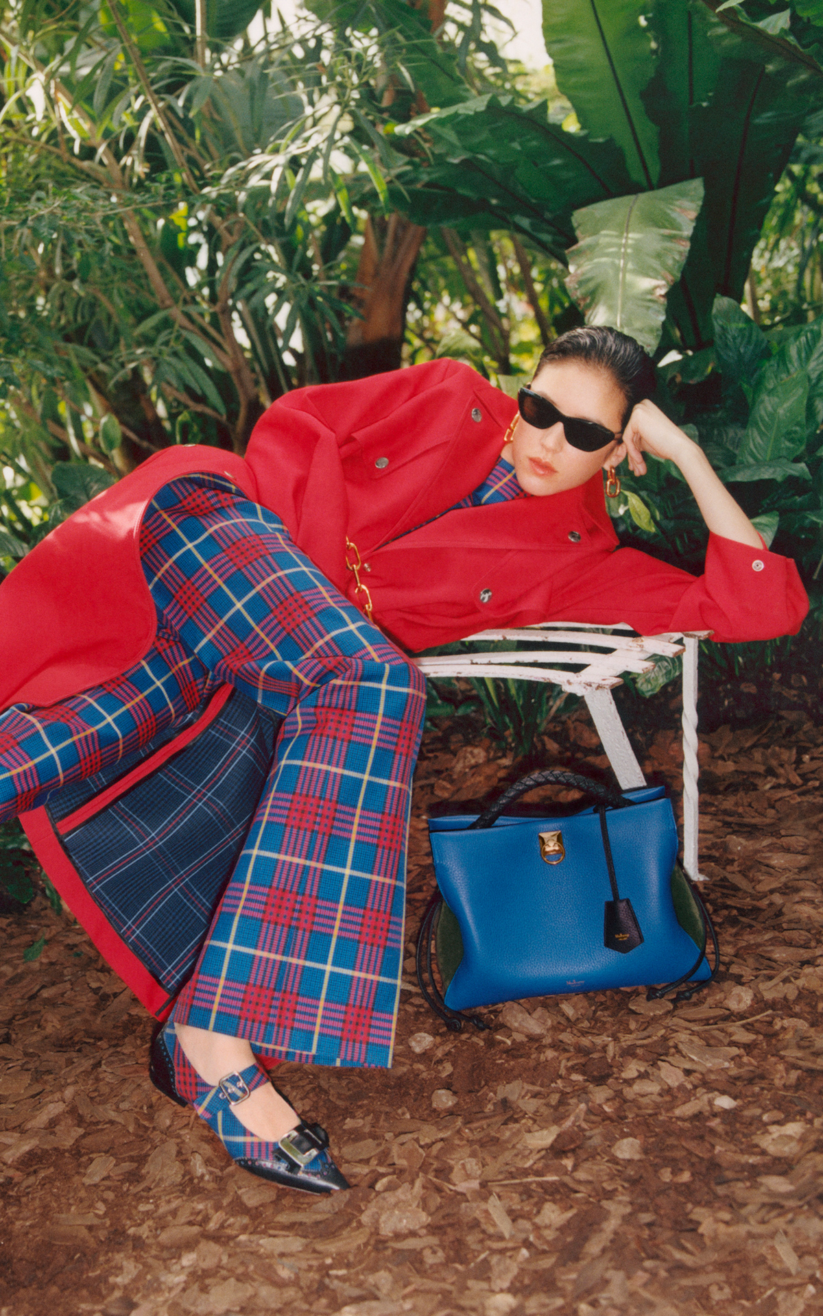 Mulberry Bicester Village hero brand image lady in red