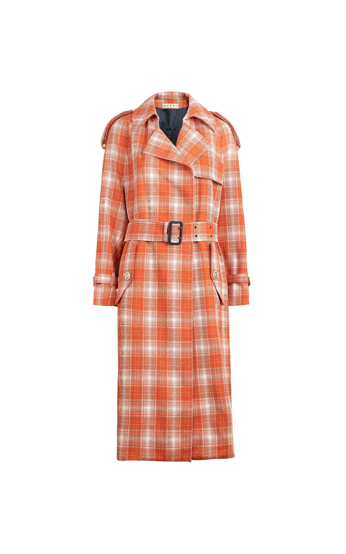 Orange checked trench coat Marni