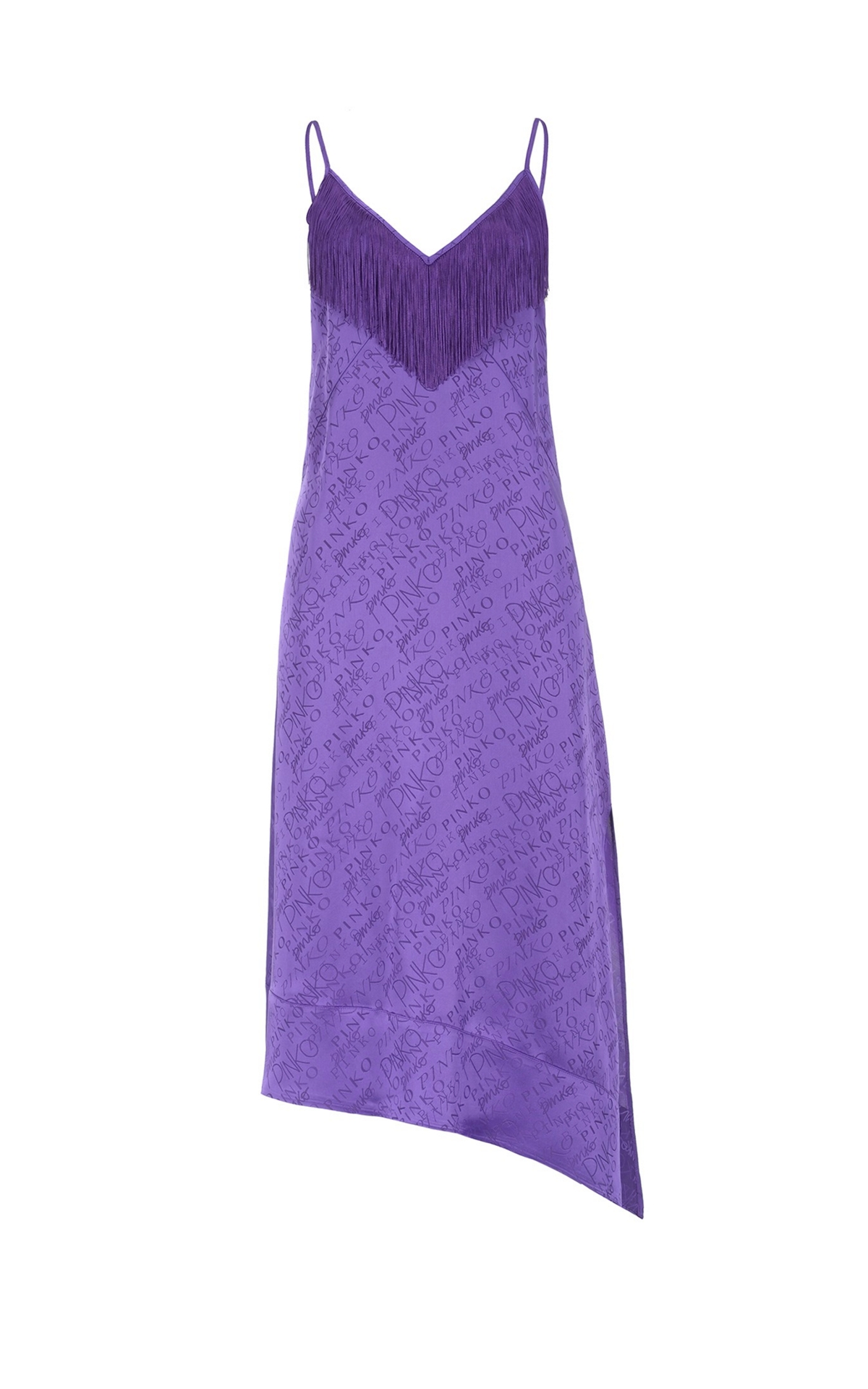 Purple dress with logo and frindges Pinko