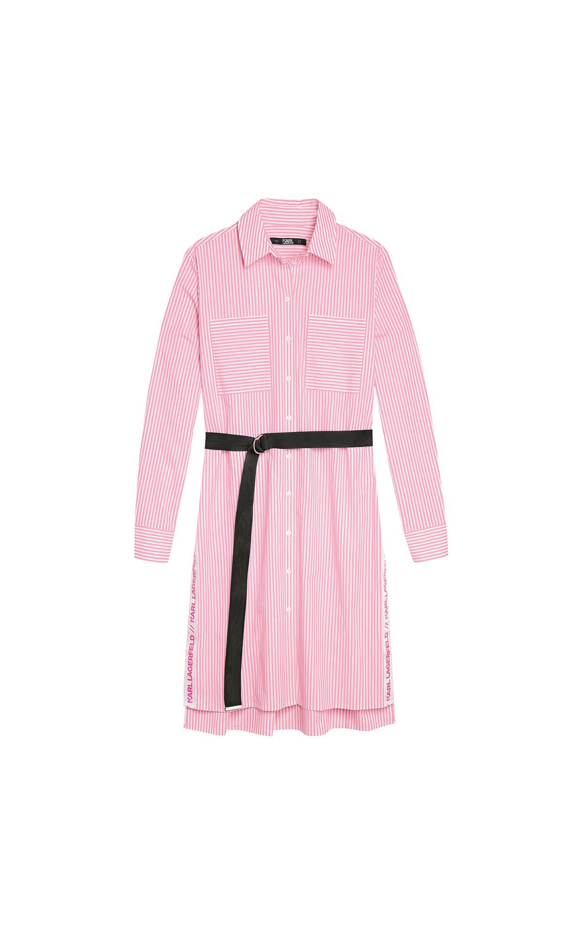 Pink dress with black belt for woman Karl Lagerfeld