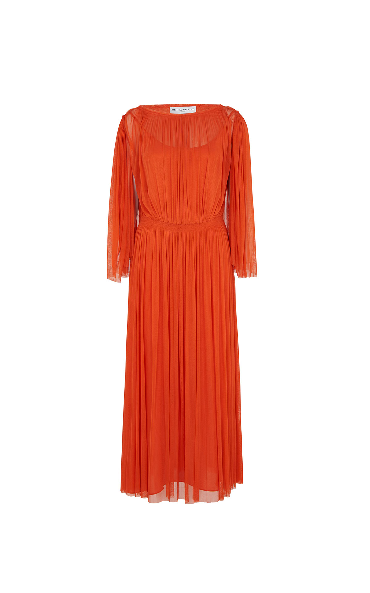 Barefoot Chic Amanda Wakeley Papaya silk tulle midi dress from Bicester Village