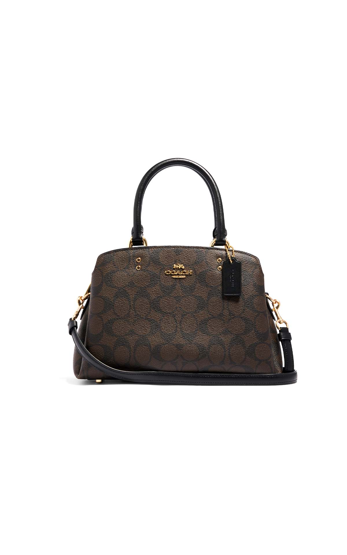 Coach Signature mini Lillie carryall in brown/black at The Bicester Village Shopping Collection