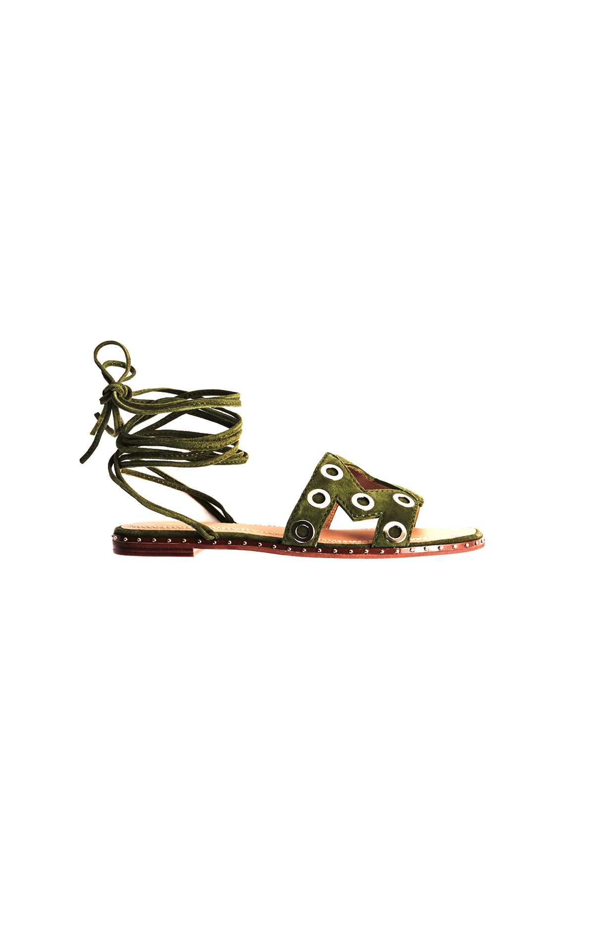 Maje suede tie sandals with eyelets at The Bicester Village Shopping Collection