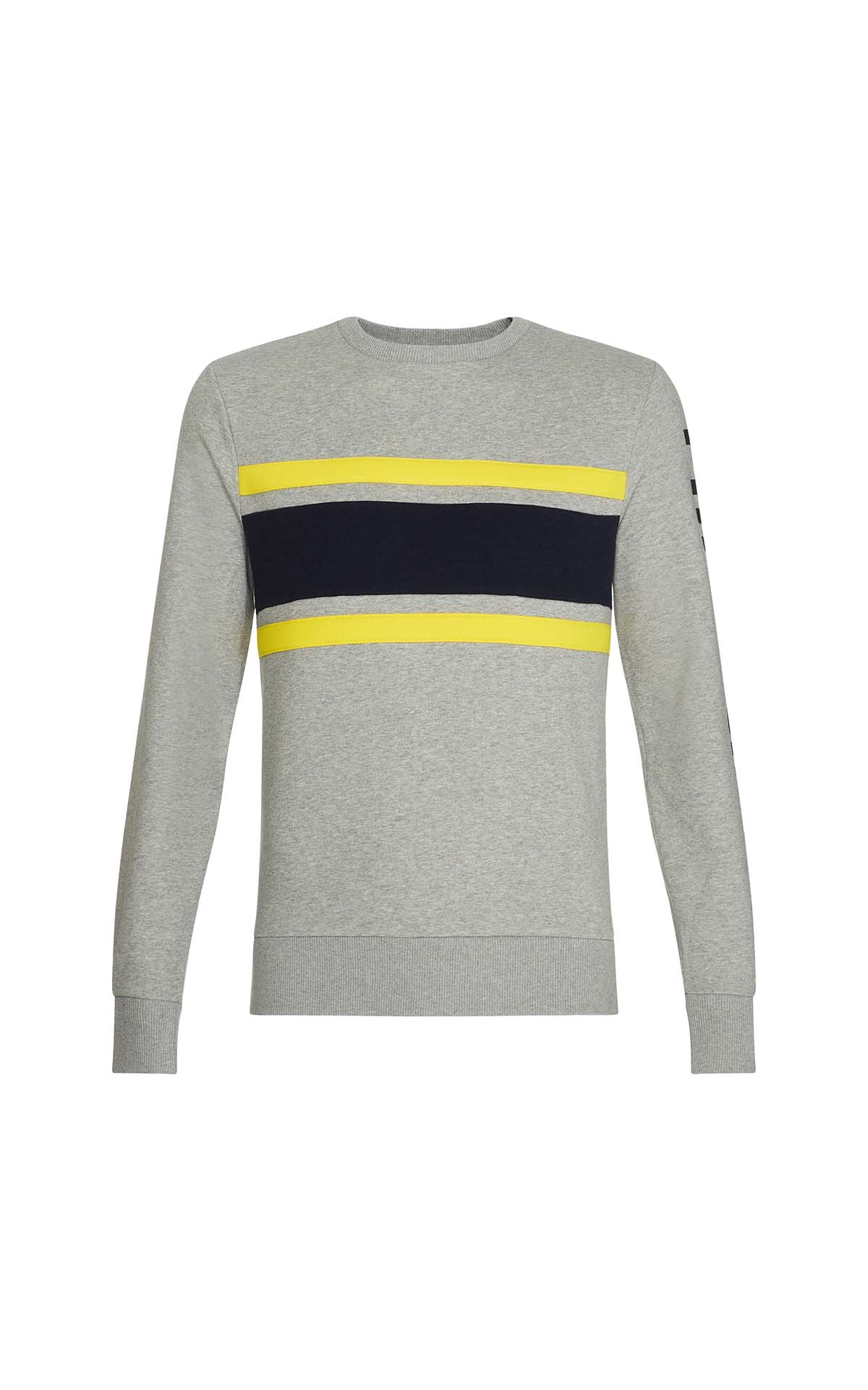 Grey sweater with navy blue and yellow stripes for man Tommy Hilfiger