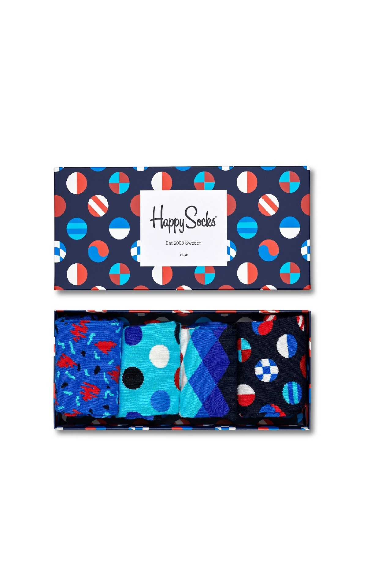 4-pack blue patterned socks Happy Socks