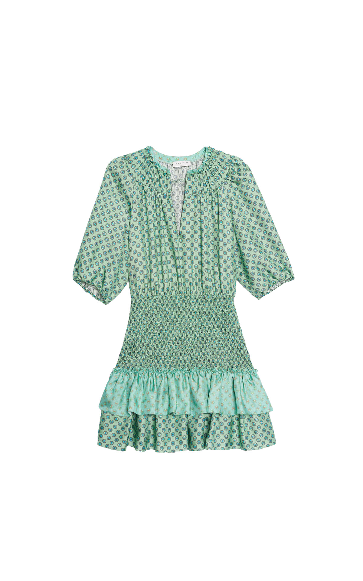 Sandro short mixed print ruffled dress at the bicester village shopping collection