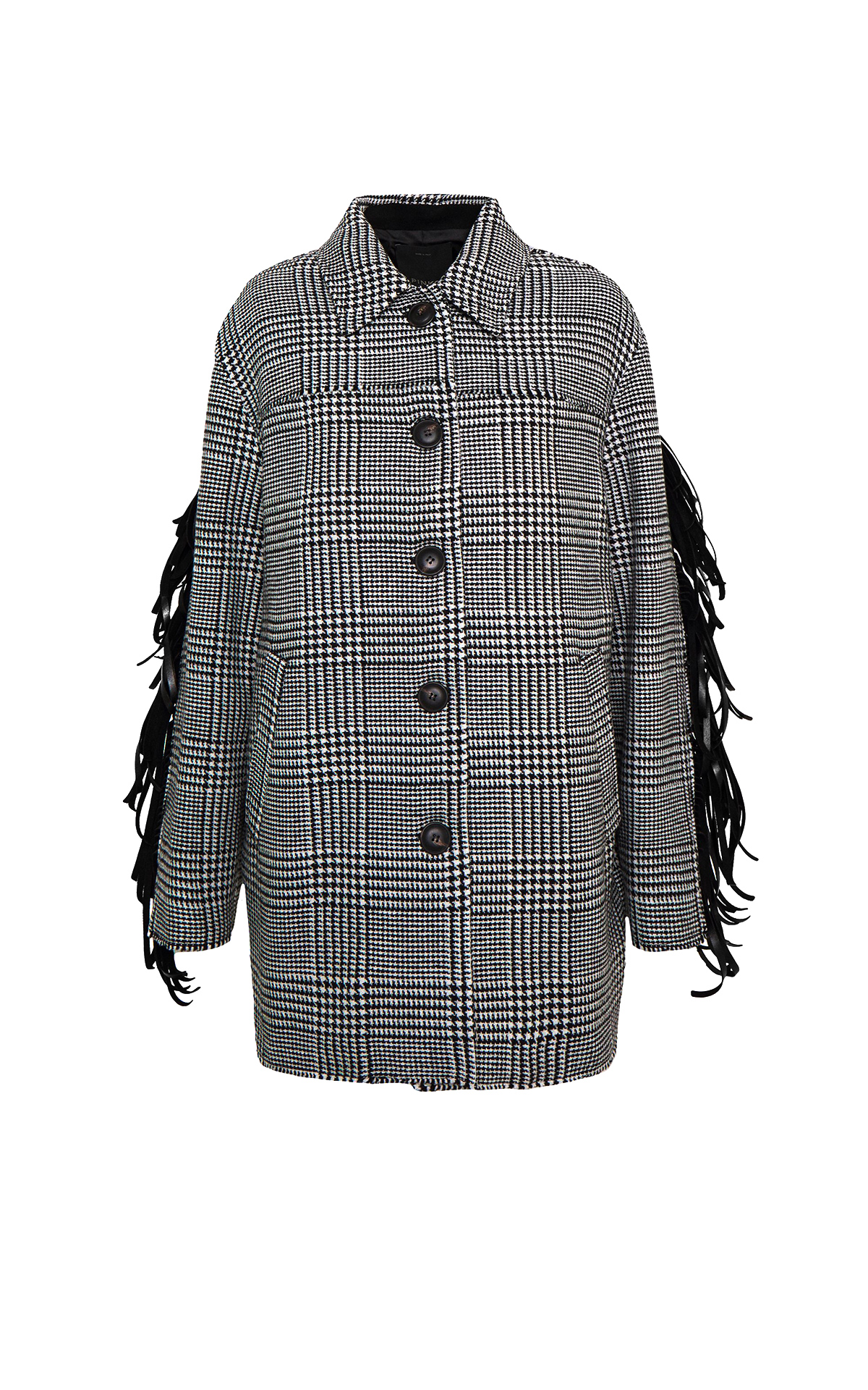 Checked coat with fringes Pinko