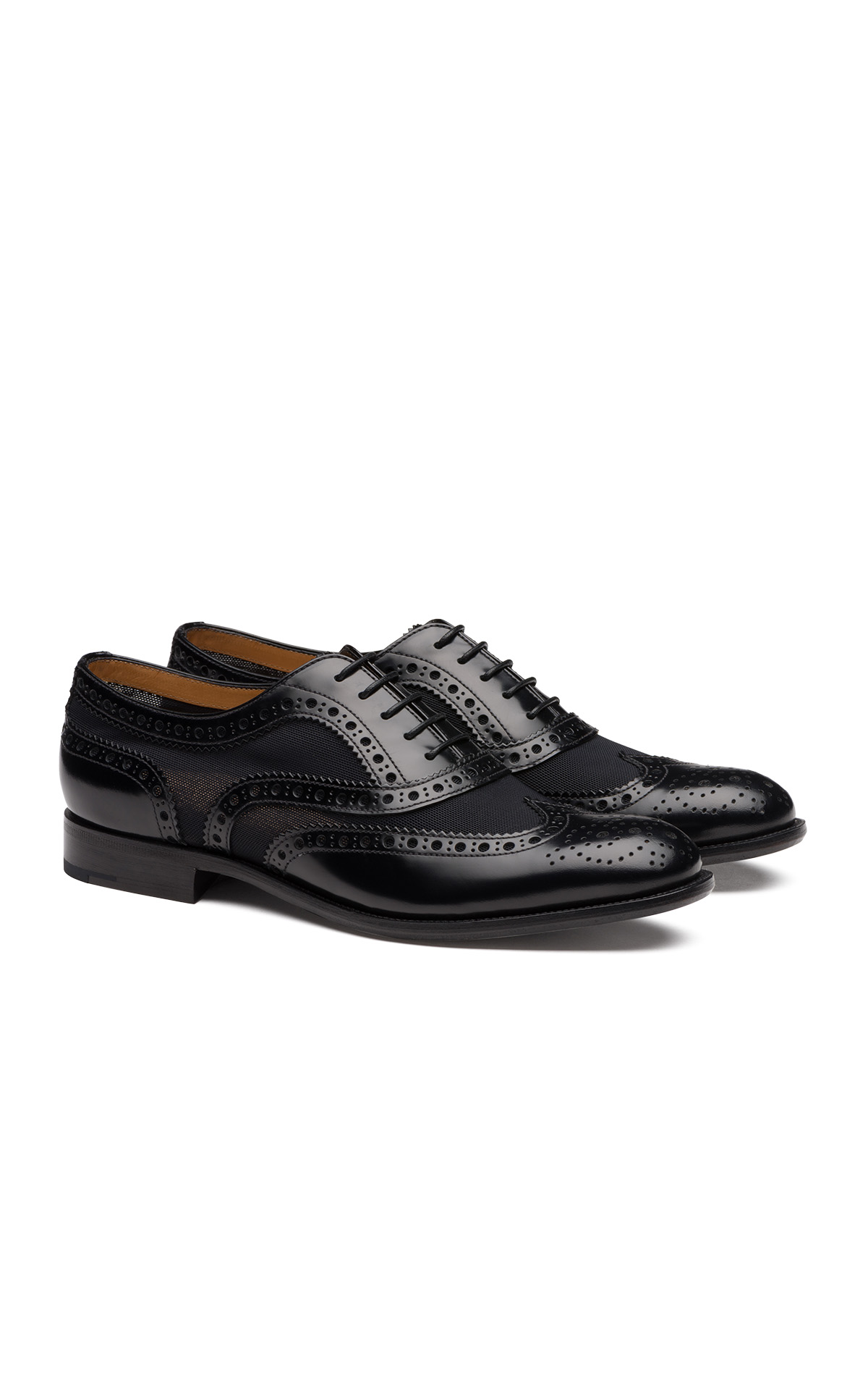 Church's Burwood 7 polished fume and mesh black from Bicester Village