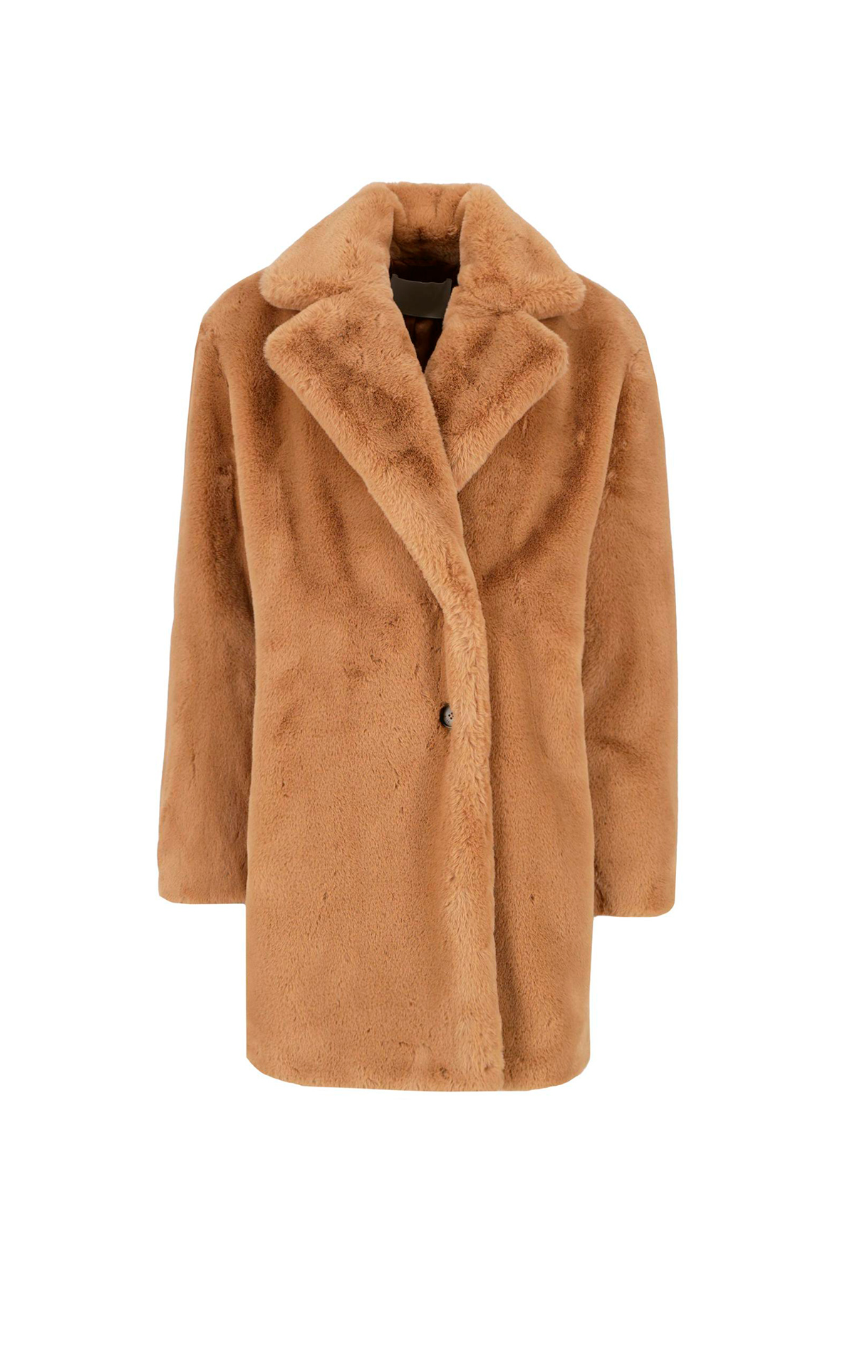 Camel coat with fur BOSS