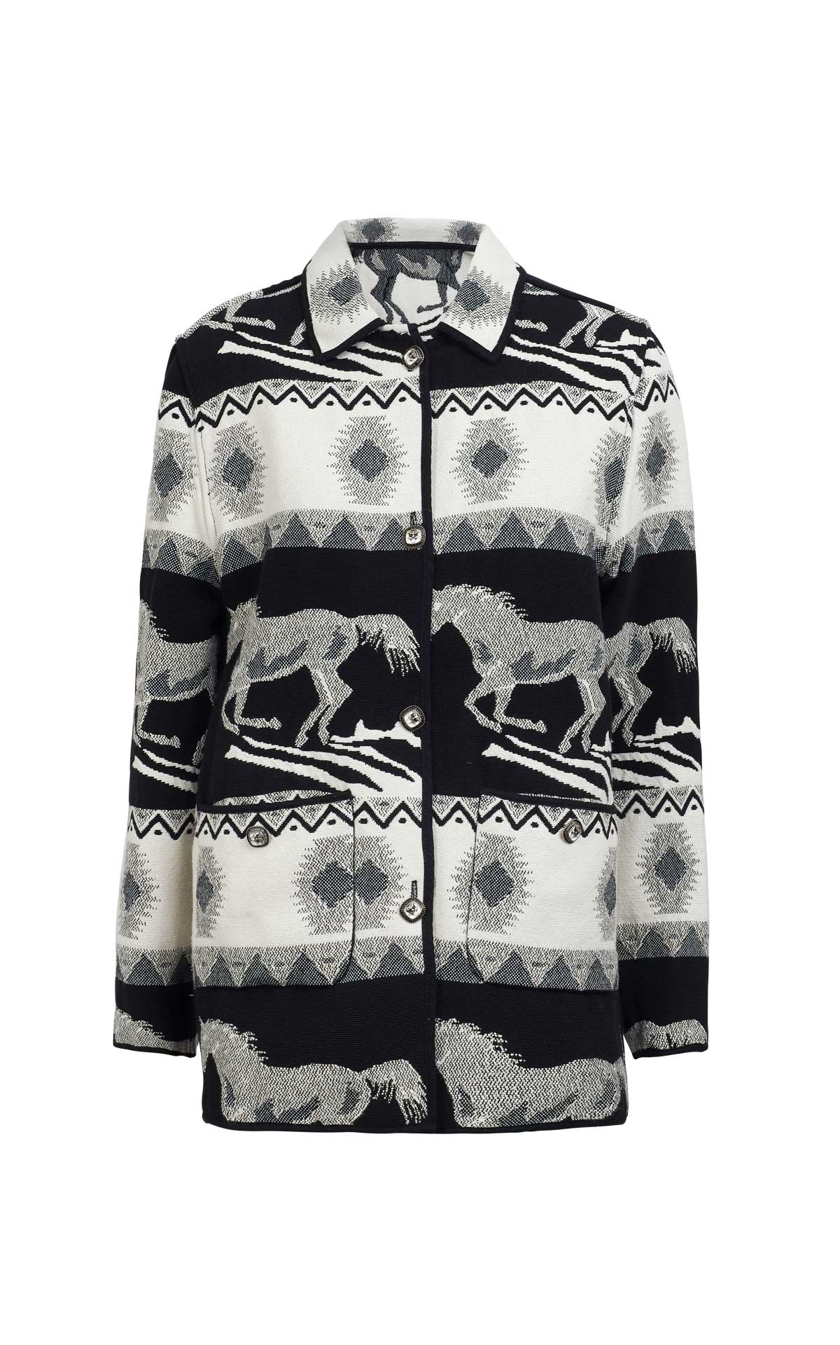 Black and white oversized printed shirt for woman Maje