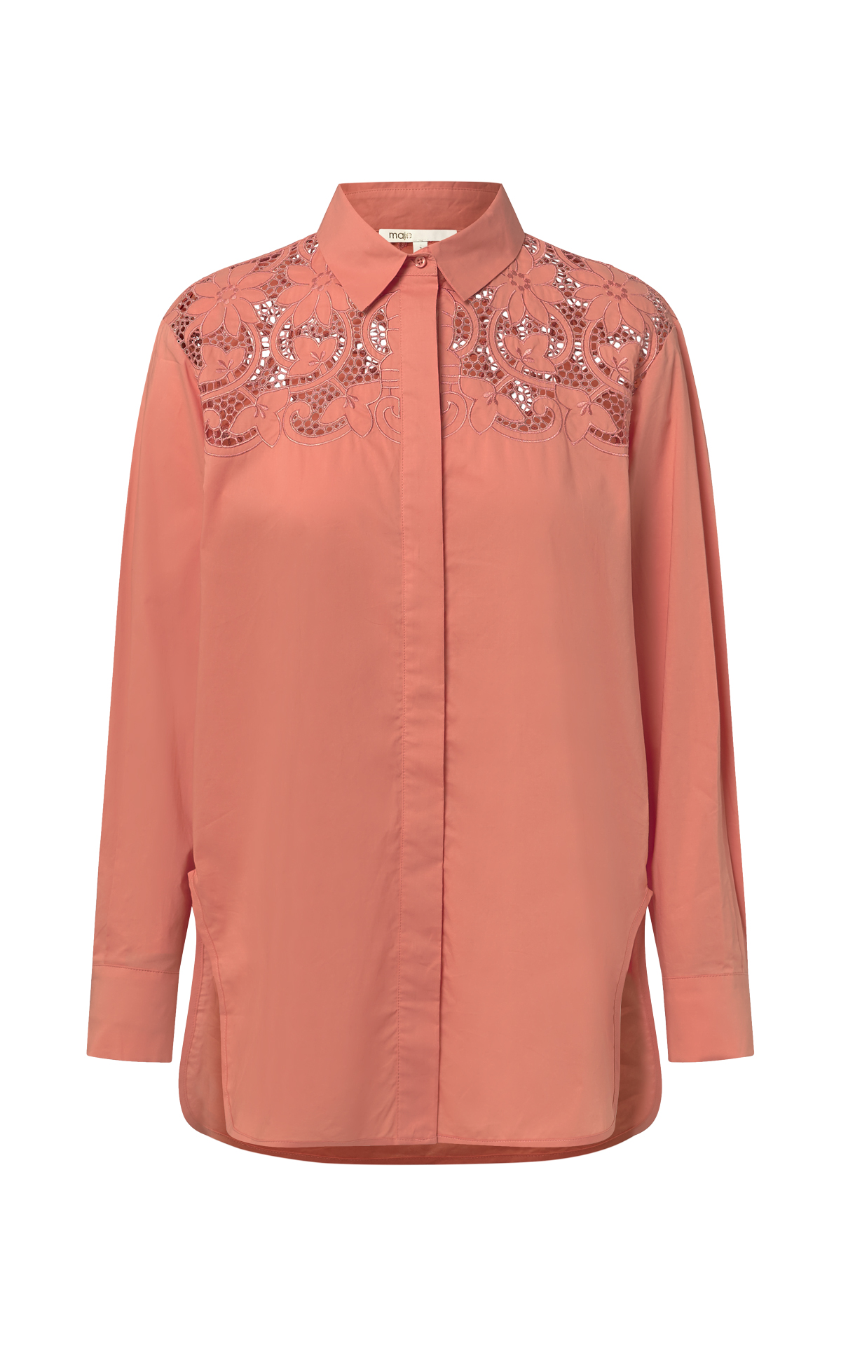 Coral shirt with embroidery for woman Maje