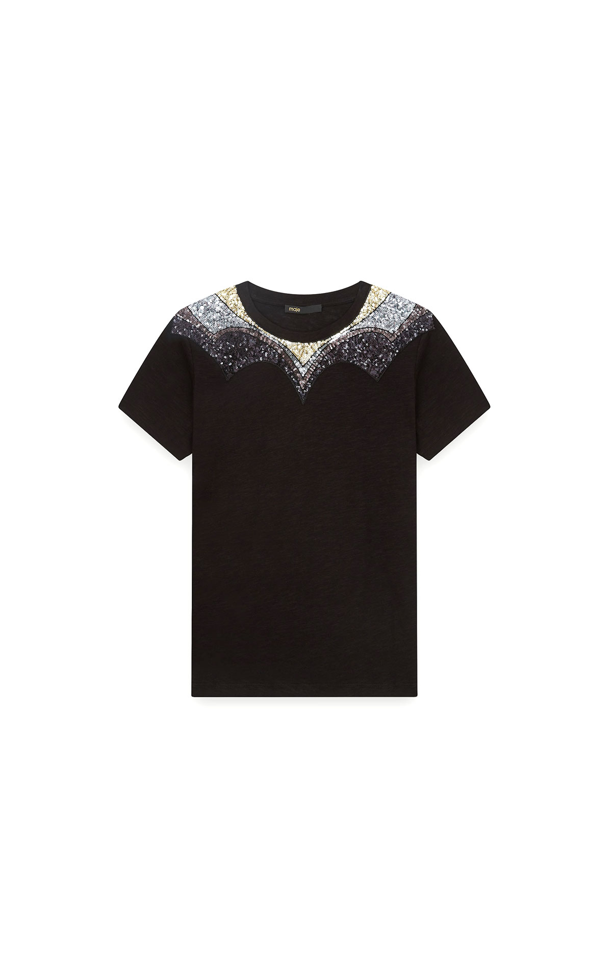 Maje Jersey t-shirt with sequins in black/multicoloured at The Bicester Village Shopping Collection