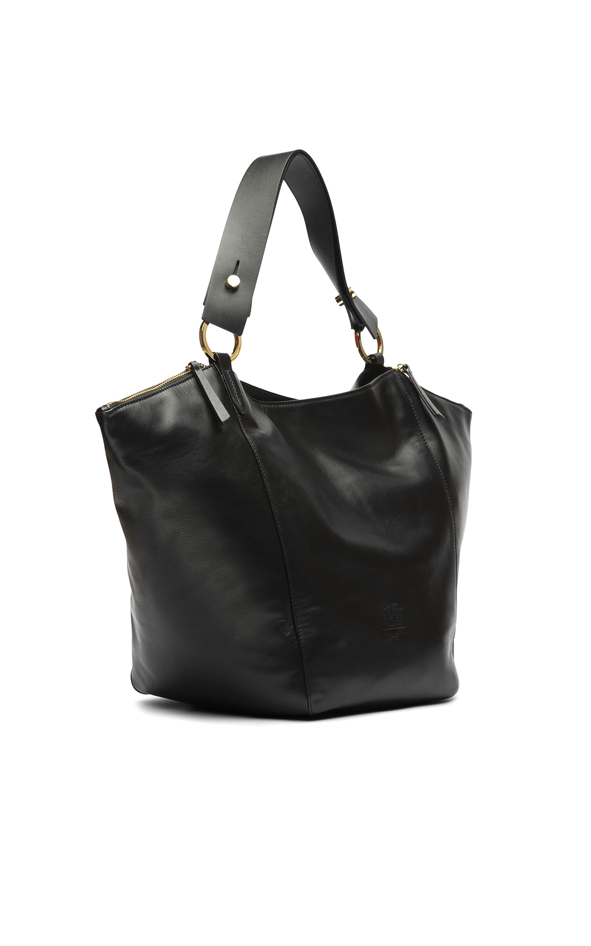 Black leather tote bag Lottusse