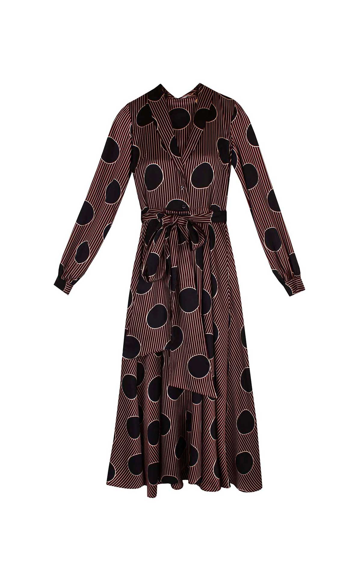 Black and brown dot print dress Dolores Promesas