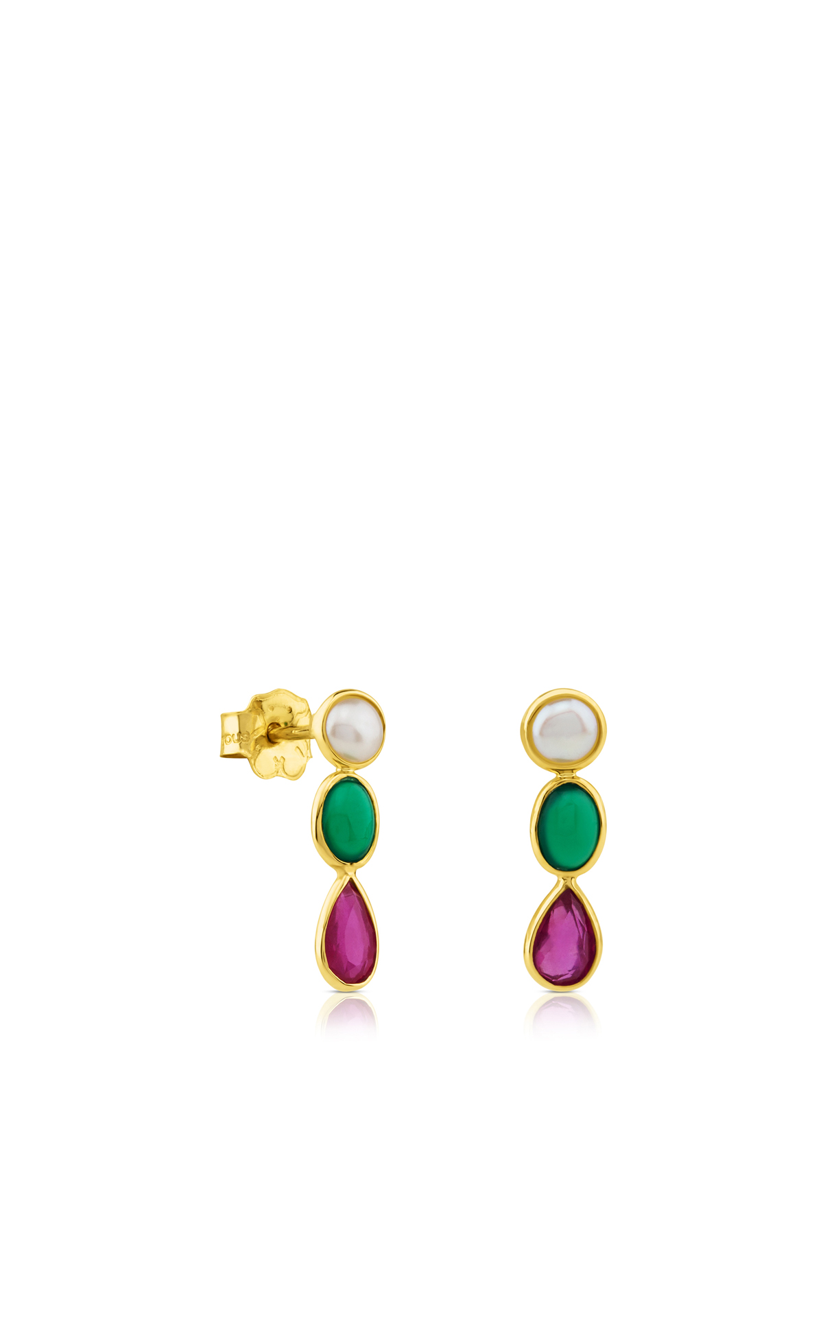 Golden earrings with three stones Tous