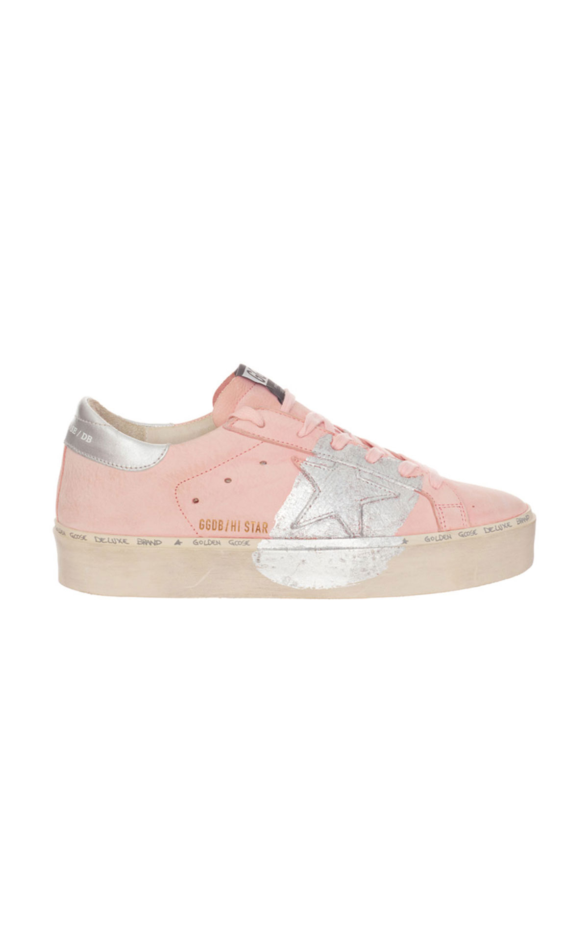 Golden Goose Powder nubuck silver star trainer from Bicester Village